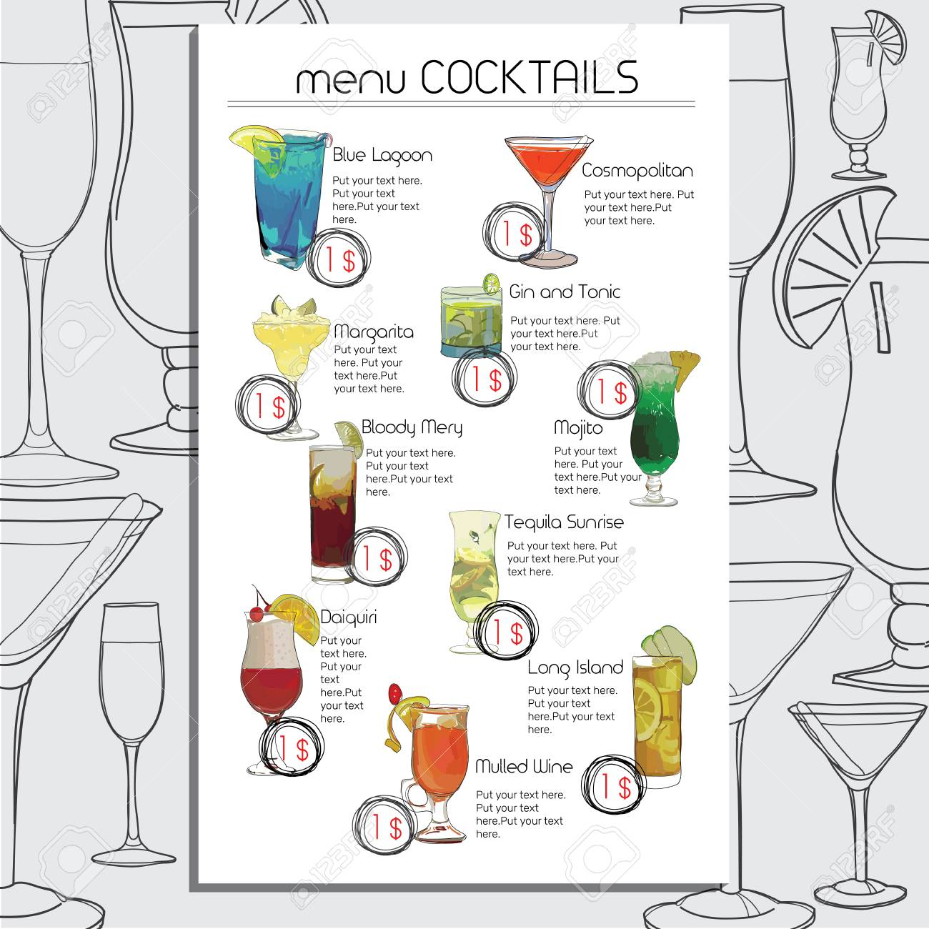 Ungewöhnlich Cocktail Liste Vorlage Fotos - Beispiel Wiederaufnahme ...