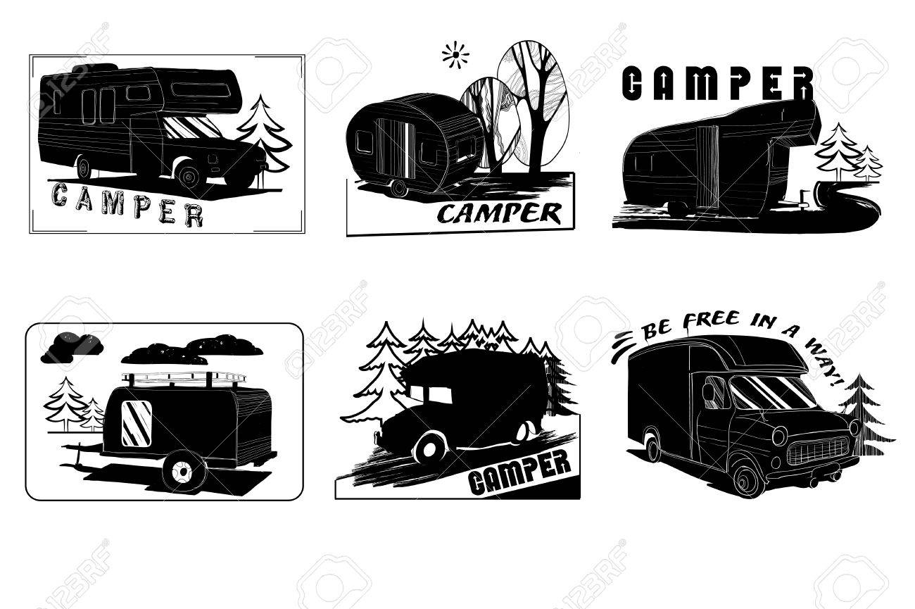 Vector Illustration Of Set Vintage Hand Drawn Logos Design, Camper ...