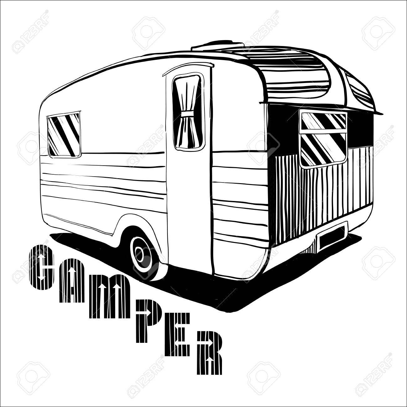 Vector Illustration Of Isolated Hand Drawn Doodle Vintage Camper