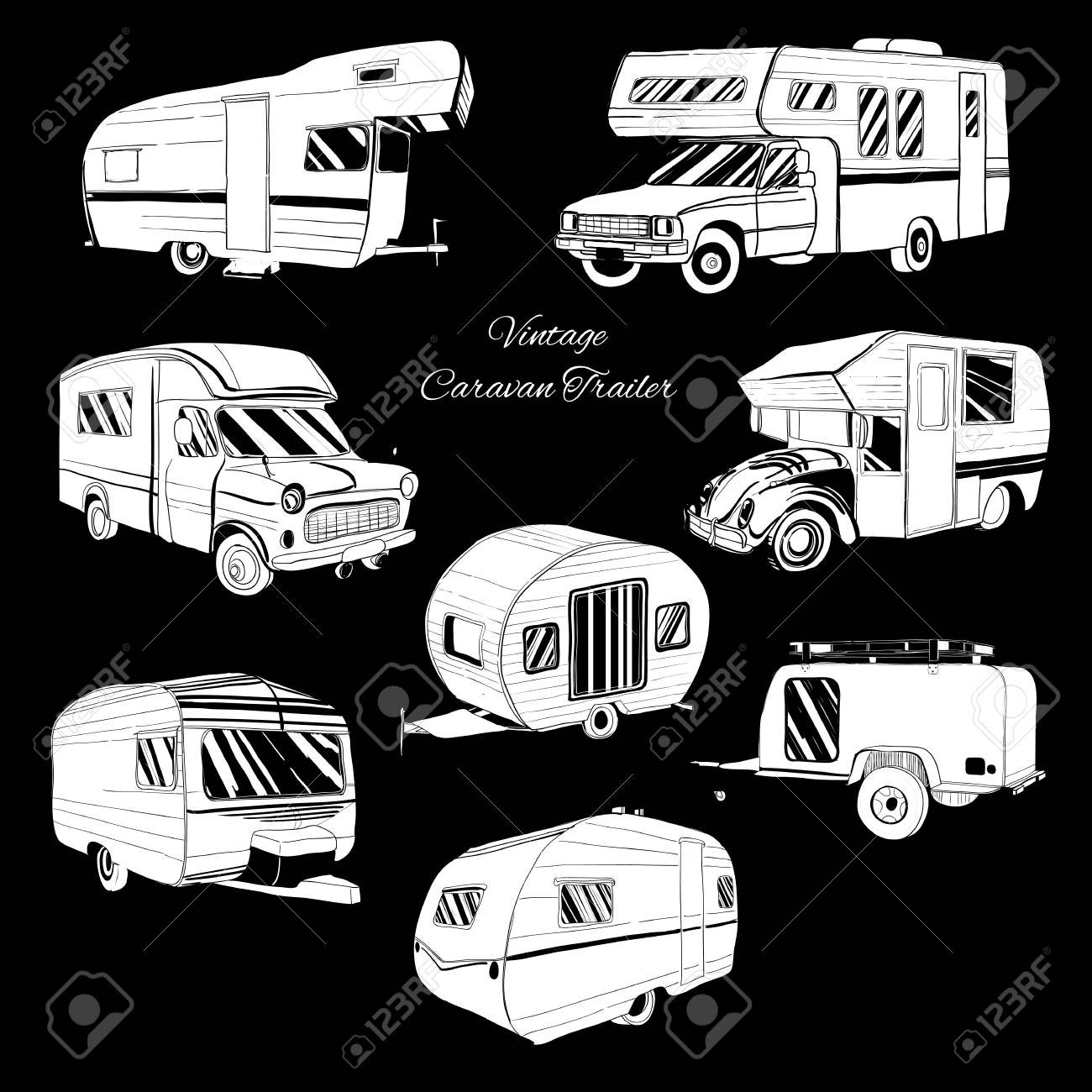 Vector Illustration Of Set Isolated Hand Drawn Doodle Camper