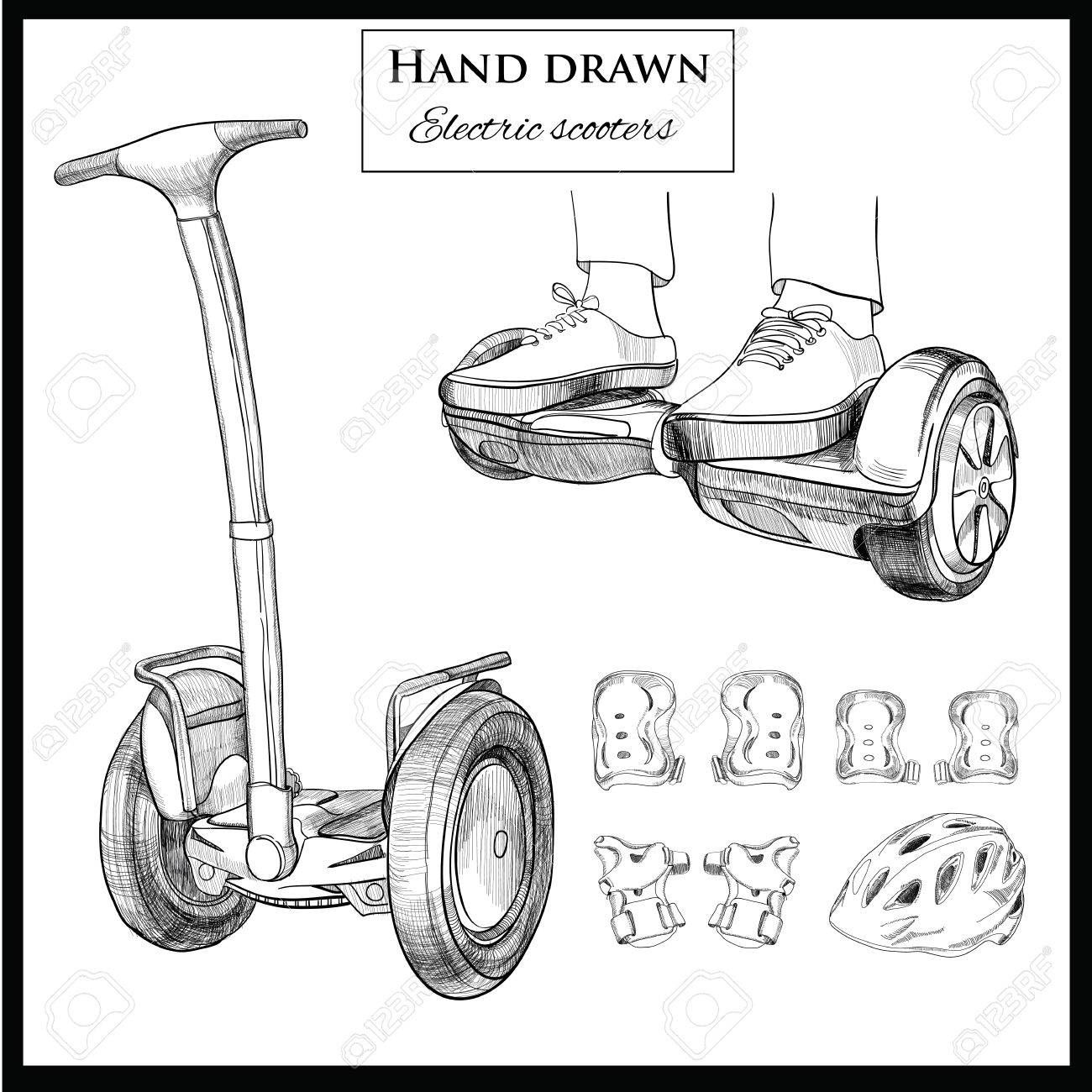 Vector Illustration Of Set Hand Drawn Balancing Scooter Two Wheeled Royalty Free Cliparts Vectors And Stock Illustration Image 69625320