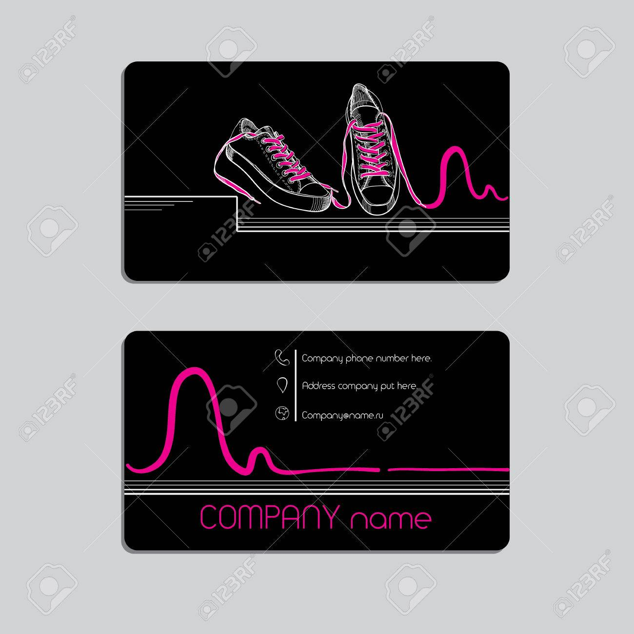Vector Illustration Of Modern, Hip-hop Style Black Business Card ...