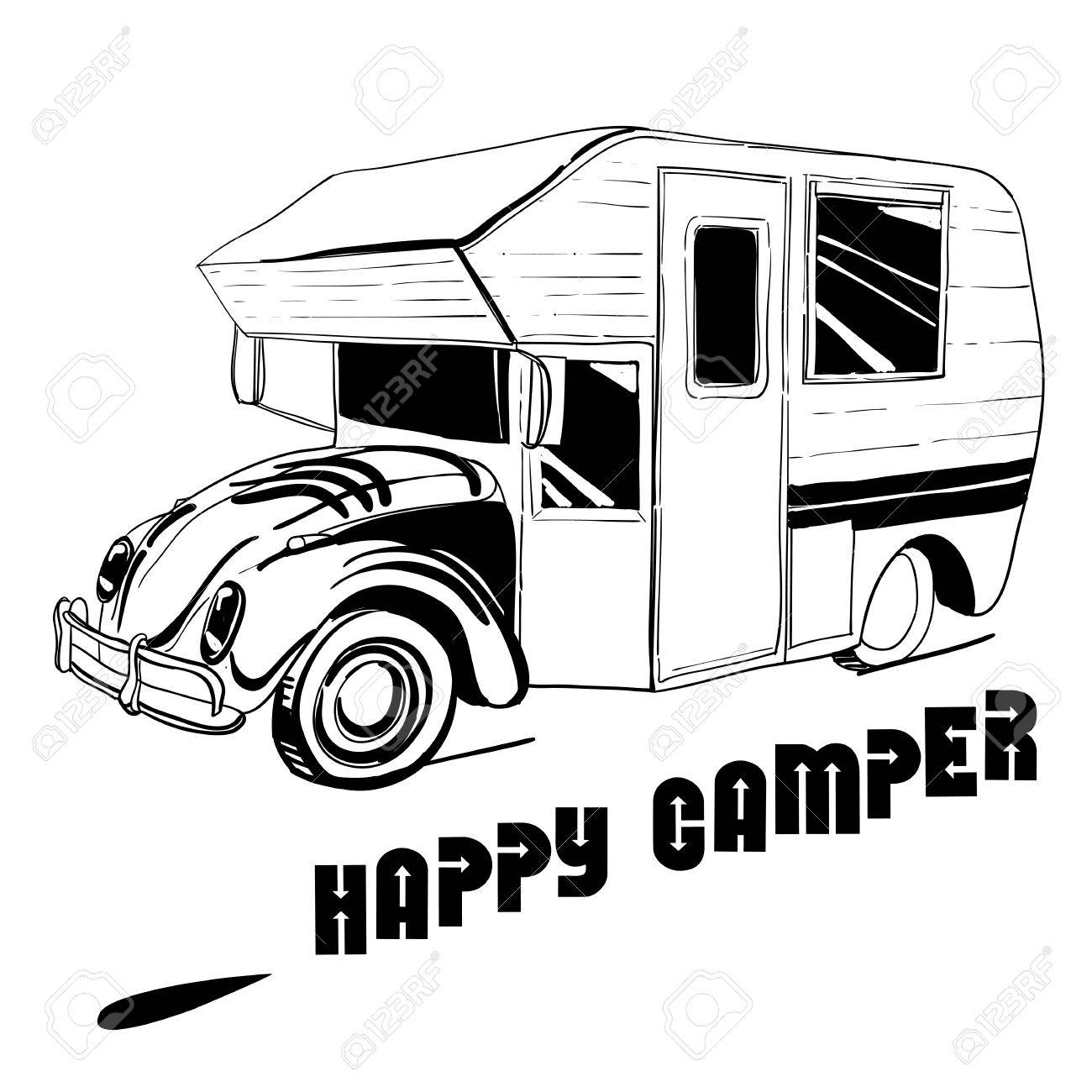 Vector Illustration Of Isolated Hand Drawn Doodle Camper Car