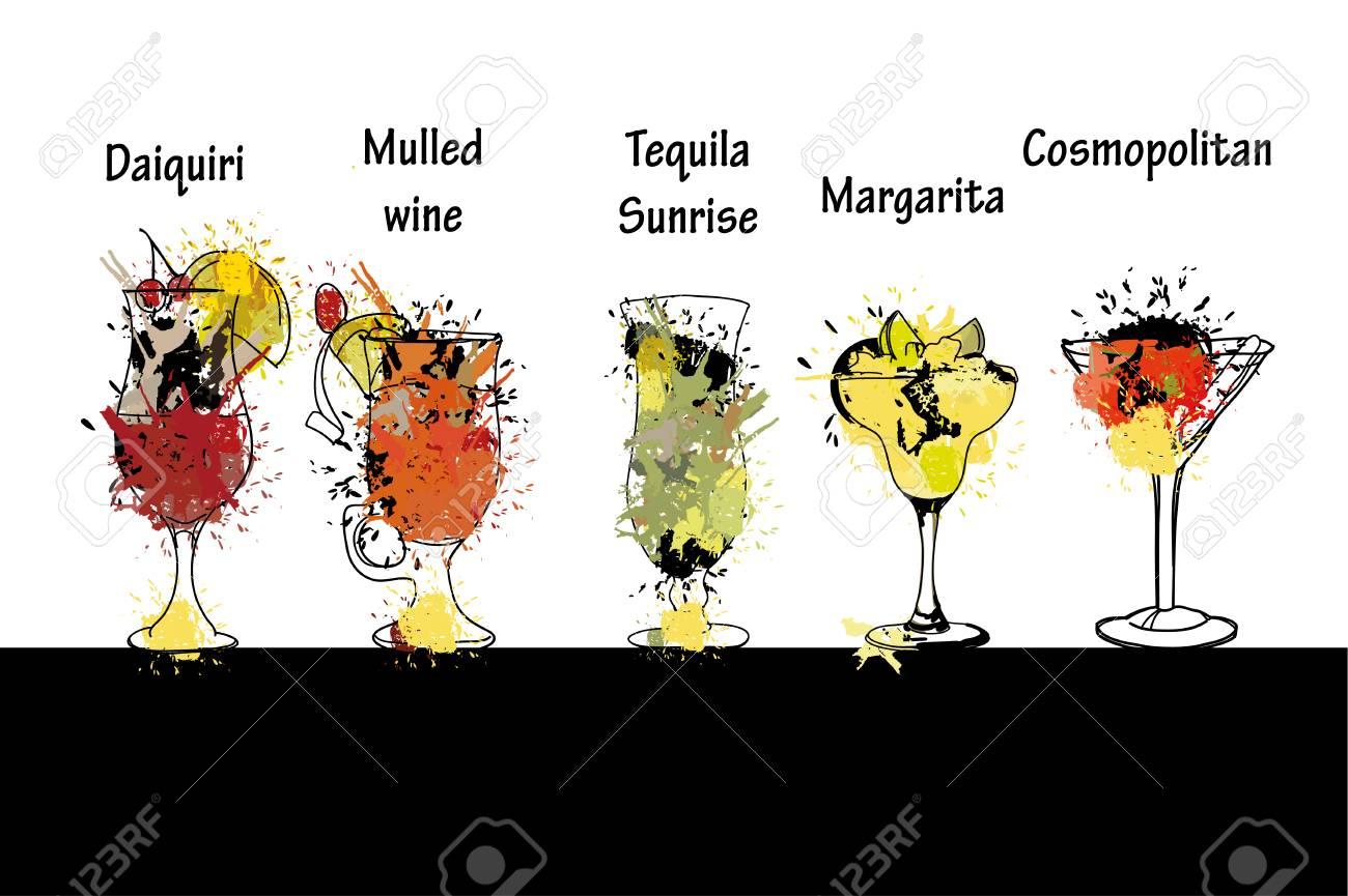 Vektorillustration Des Cocktails Stellte Mit Namen Ein. Vorlage Für ...