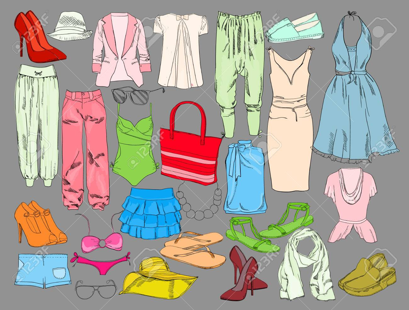 Summer Travel Packing For Vacation Woman Clothing Set Vector Royalty Free Cliparts Vectors And Stock Illustration Image 78774762
