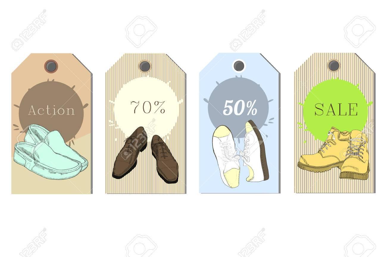 Ilustración de conjunto de etiquetas mano dibujado hombre gráfico y calzado de mujer, zapatos de descuento tienda. Estilo casual y deportivo, gumshoes