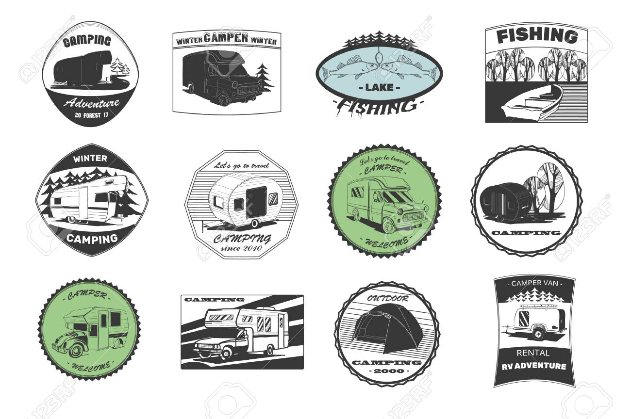 Vintage Camping And Outdoor Adventure Emblems Logos Badges