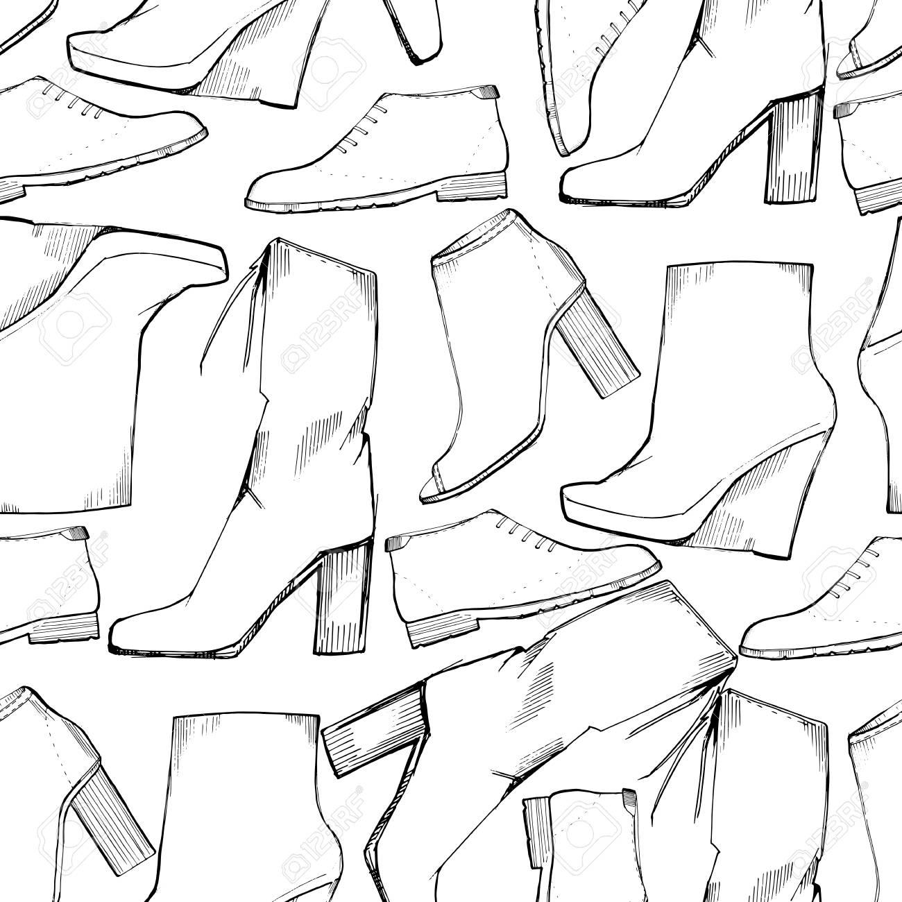 Illustration Von Frauen Nahtlose Hand Gezeichnete Muster Mit