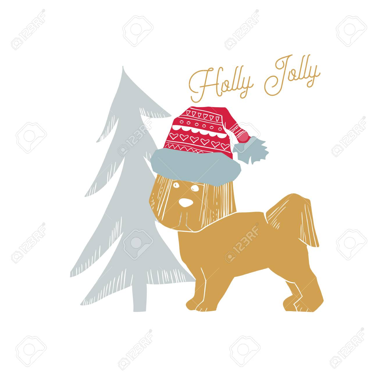 Illustration Of Merry Christmas Greeting Card With Dog In Santa