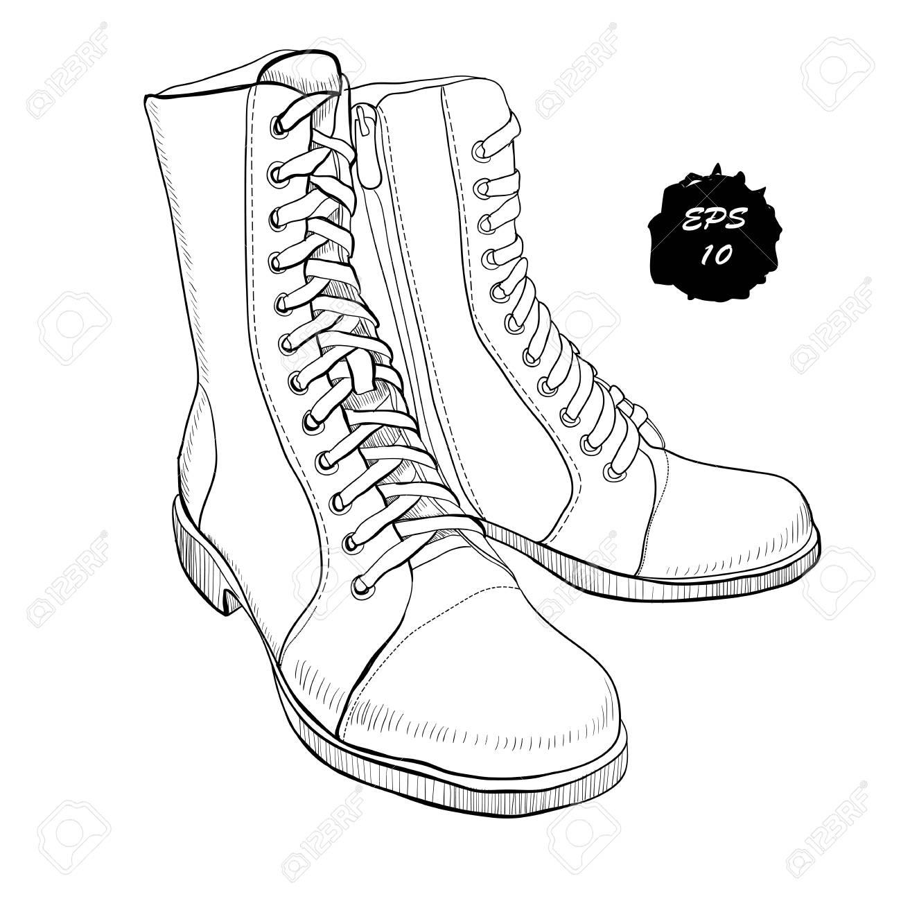 la main ChaussureschaussuresChaussure et vectorielle le style de femmes sportif Hommes pour et dessinés à Illustration décontracté graphiques zMpSqUV