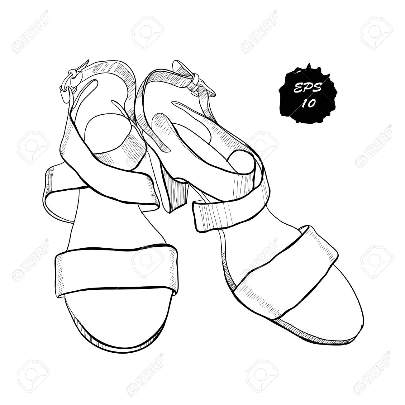 250e8fd0c04ec Illustration of isolated objects sandal shoes. Drawing graphic design for  woman, girl and lady