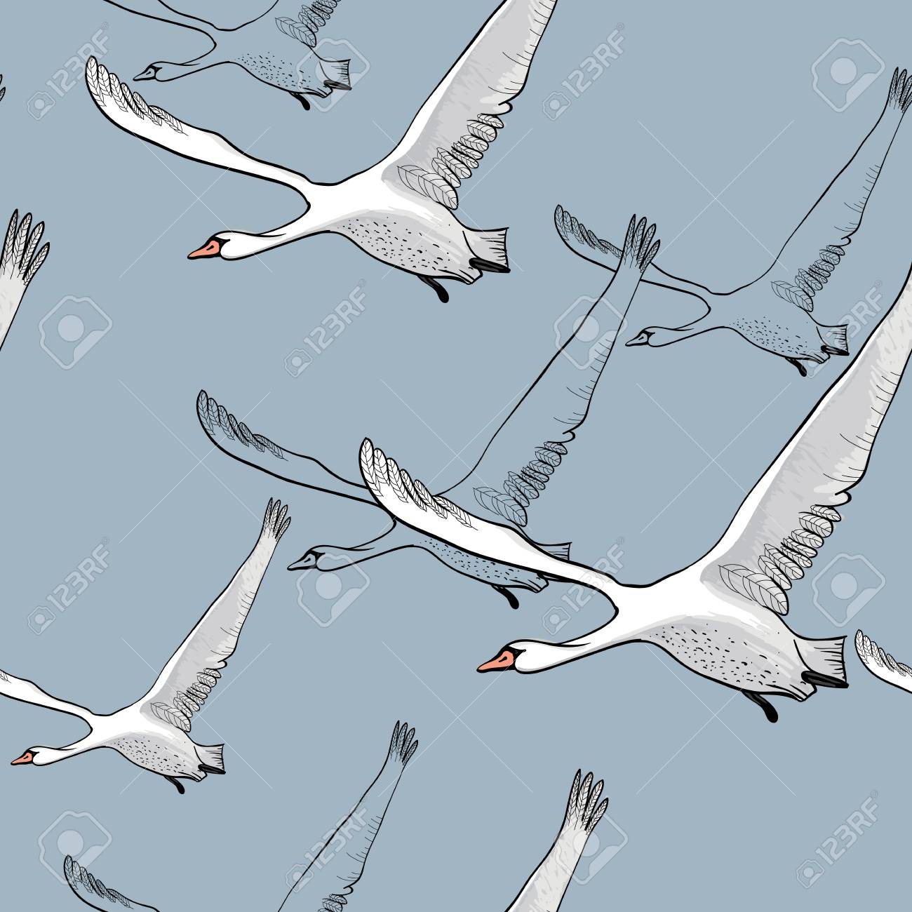 Vector Illustration Of Seamless Pattern Of Drawing Flying Flock
