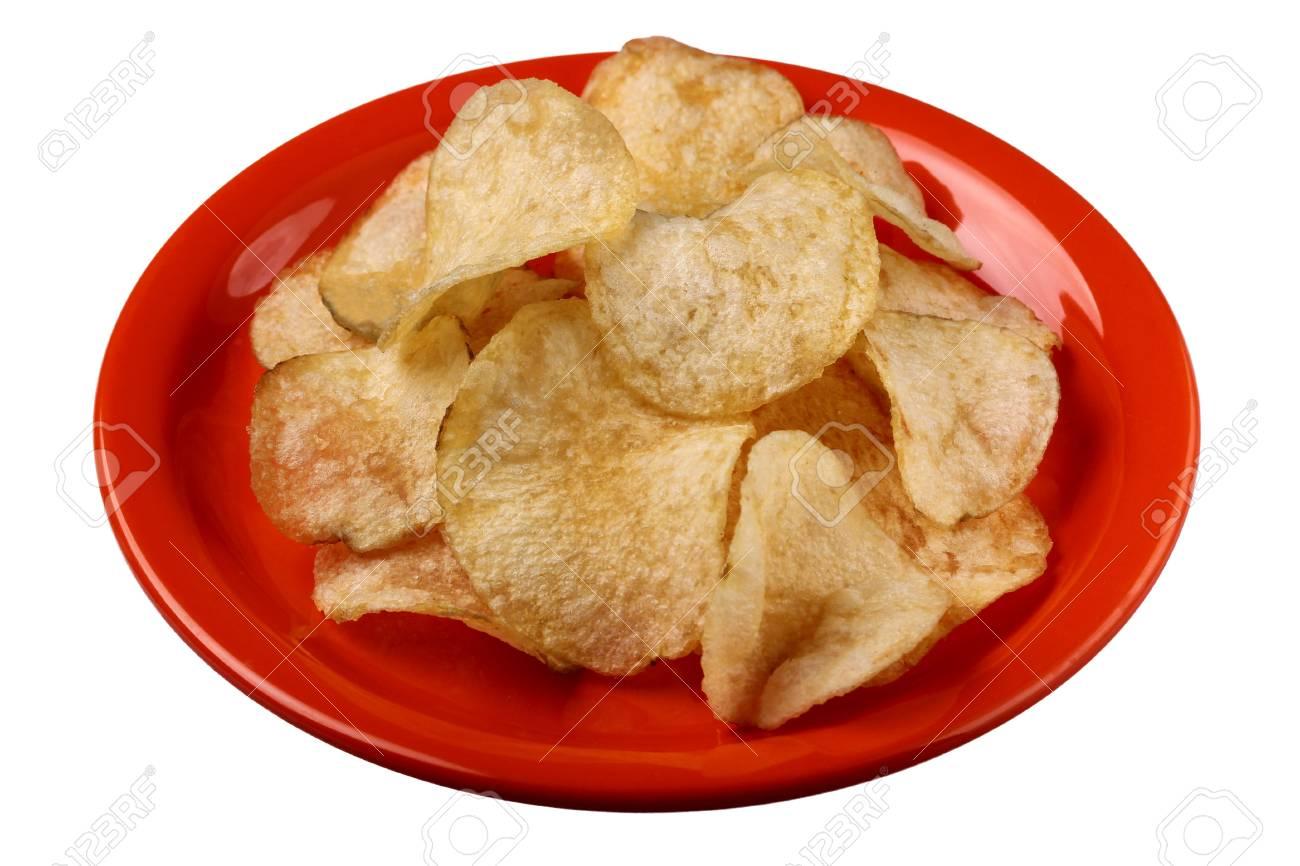Deep fried salted potato crisps on a plate Stock Photo - 10273360