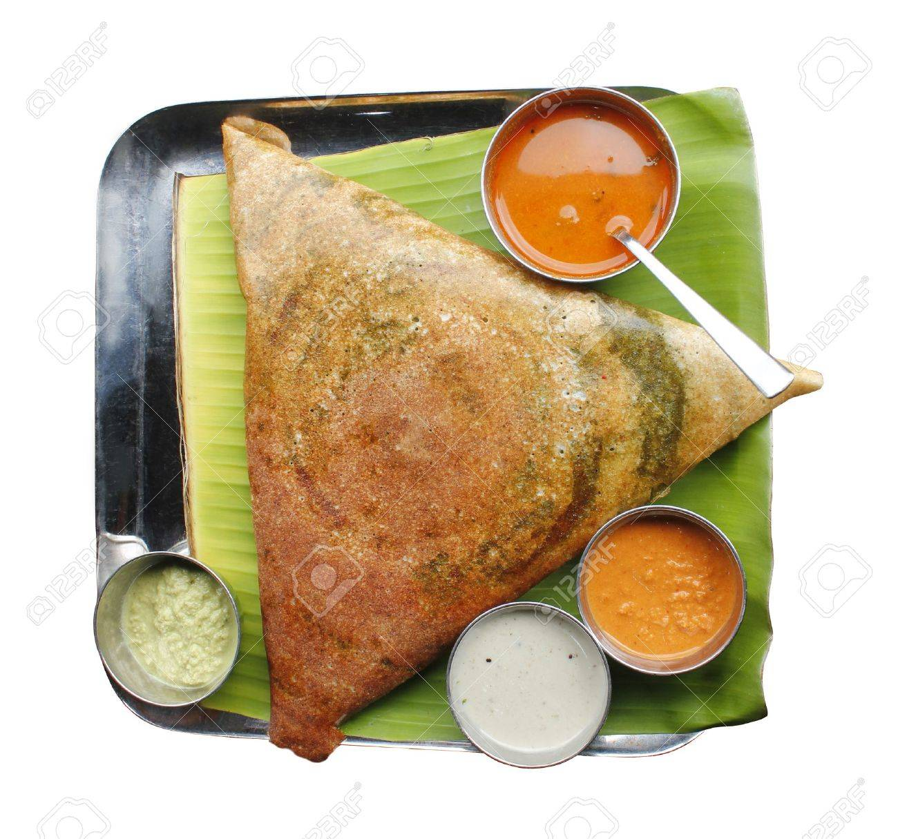 Masala dosa with different types of chutney and sambar Stock Photo - 11028900