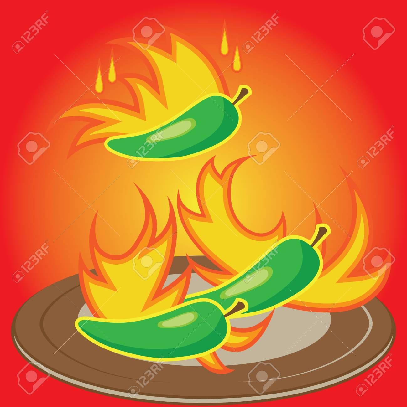 Hot chili pepper burning in fire - a concept of spicyness of chili Stock Photo - 11508861