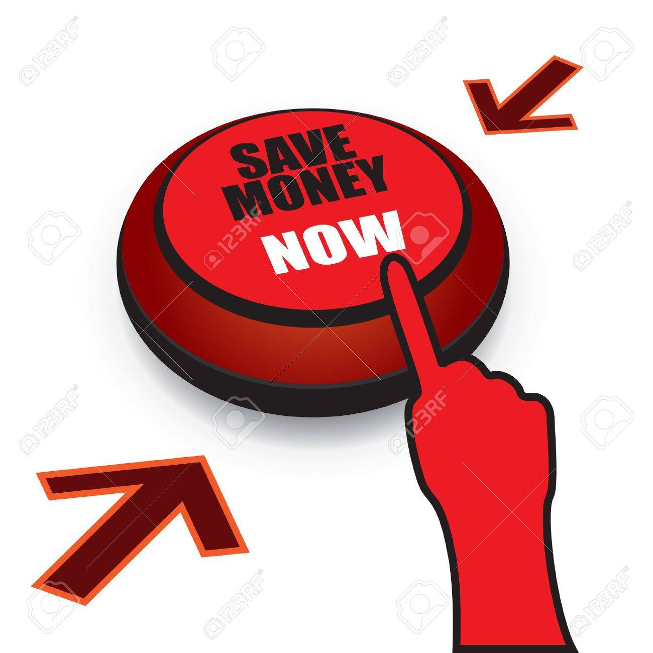 Save money now button with finger ready to press the button. CMYK colors used. Organized by layers. Gradients used. Stock Vector - 11674294