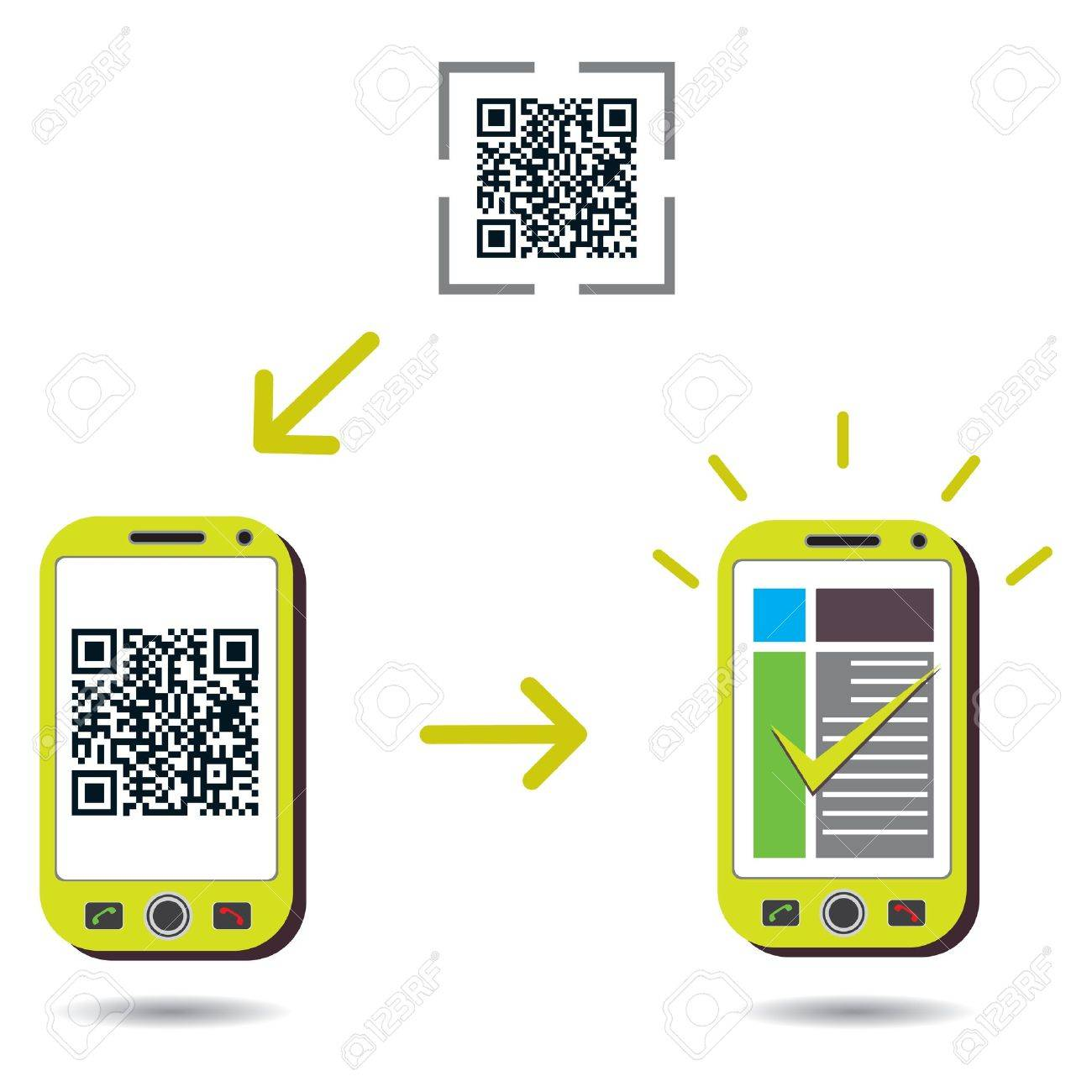 QR Code processing showing cellphone scanning and showing success. CMYK global process colors used. Organized by layers. Gradients used. Stock Vector - 11885969