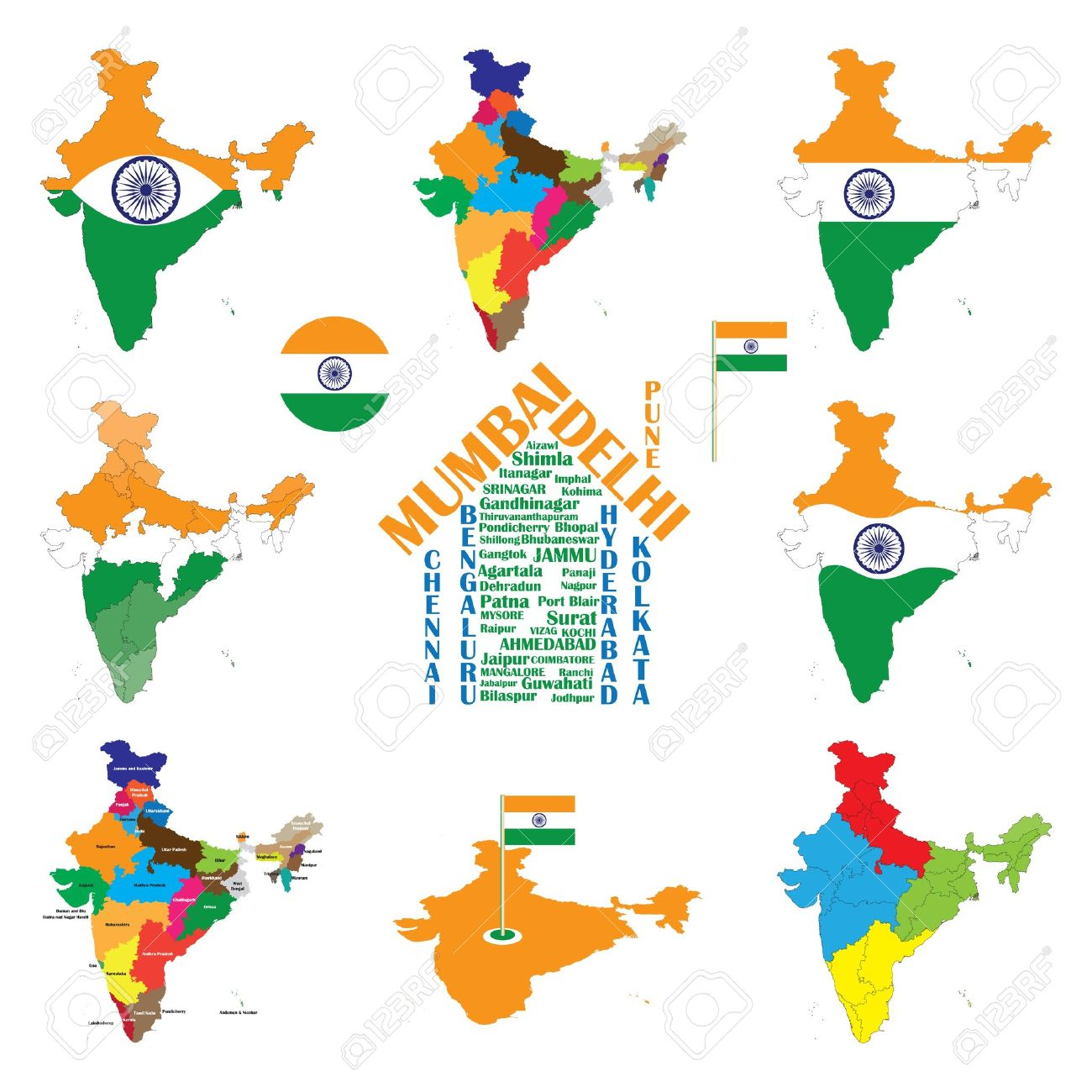 India Map With Indian Flag. Indian Cities Displayed As House ...