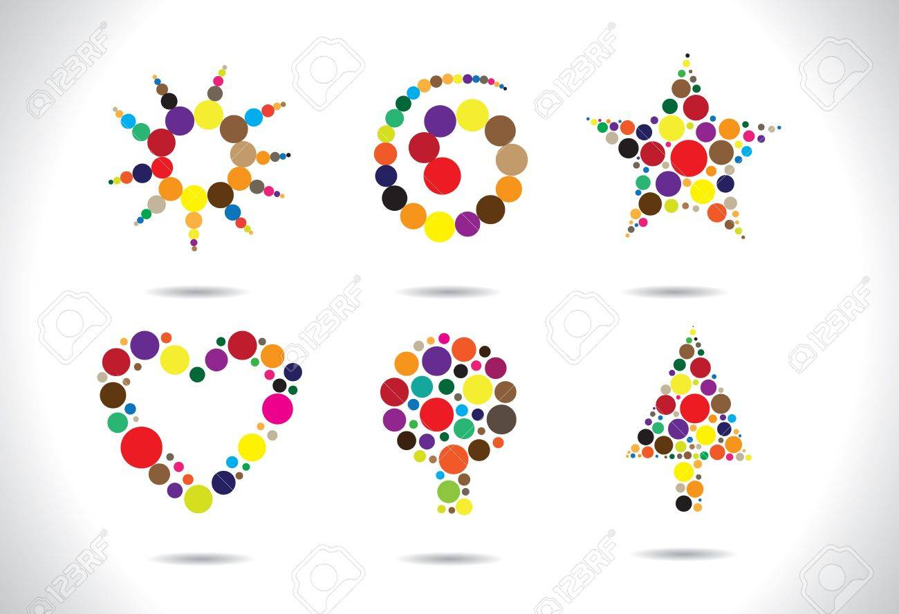 Colorful circular shapes arranged to form symbols like flower, heart, tree, star, spiral, etc. AI EPS8 vector file. Artwork managed using layers. Stock Vector - 12195879