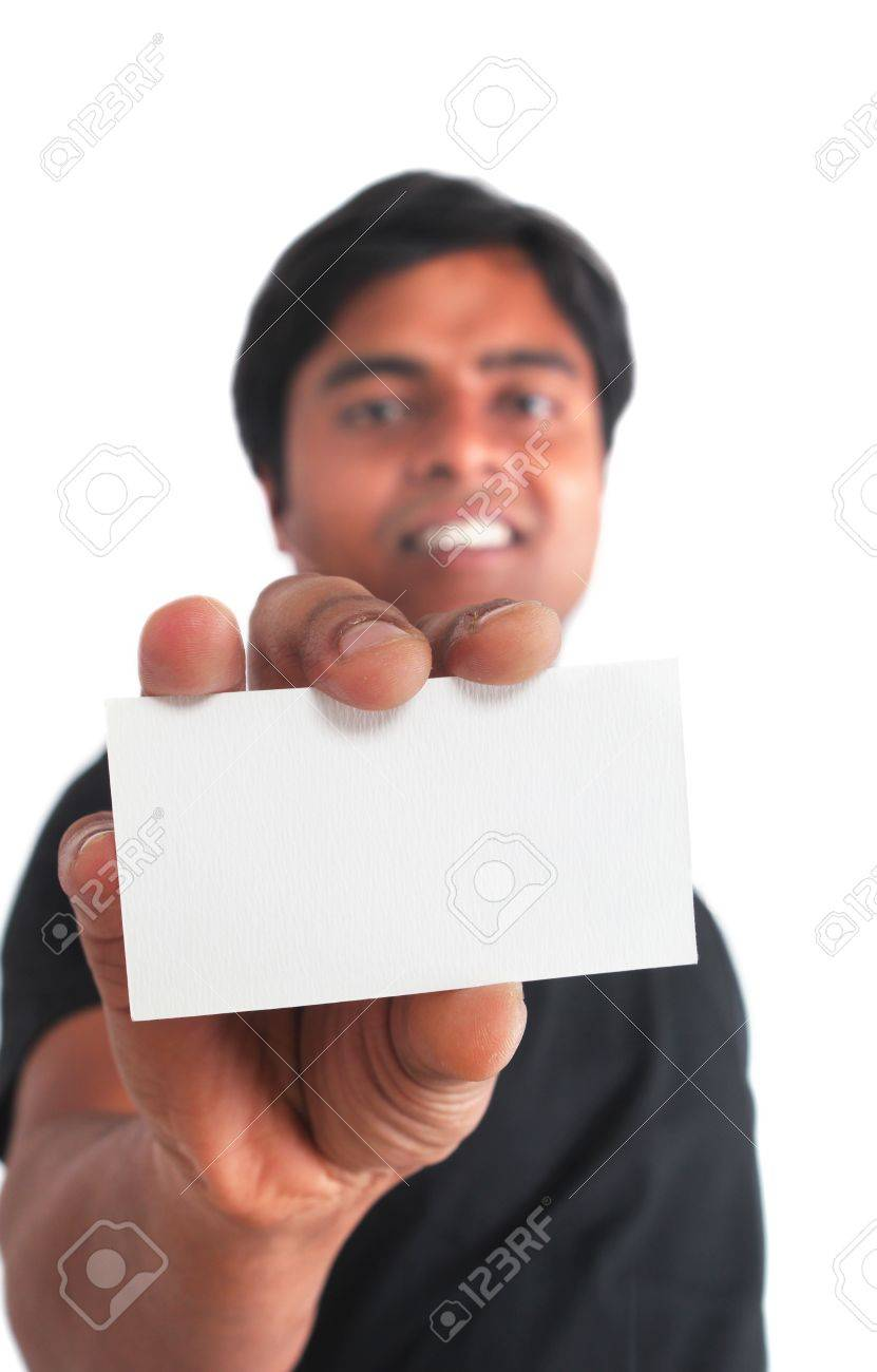 Indian young male holding business card on white background Stock Photo - 12772722