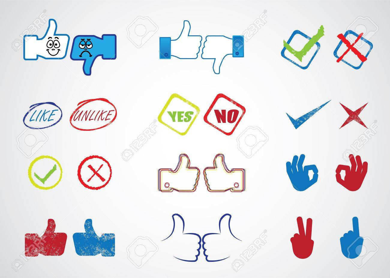Internet website icons for approval, disapproval, like, unlike, yes, no, thumb up, thumn down, right, wrong, correct, incorrect, etc Stock Vector - 13425403
