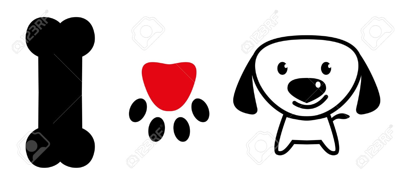 i love dog message showing bone pup paw with love symbol and