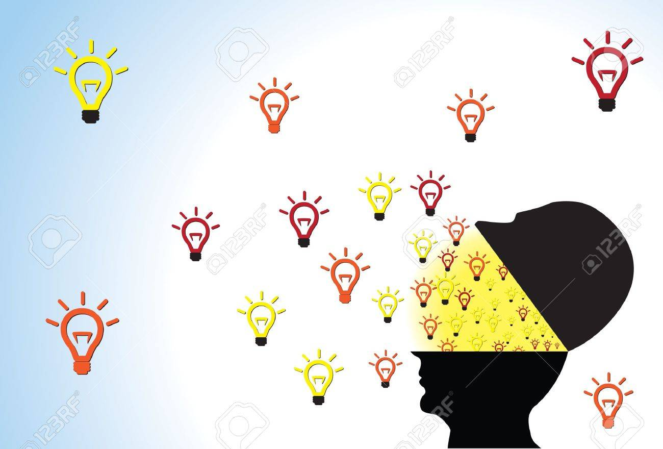 Person head opened showing ideas being created and flowing outside because of creativity, intelligence and imagination Stock Vector - 13619251