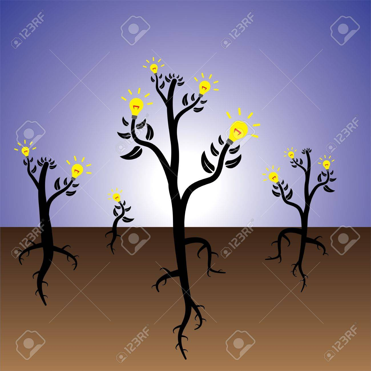 Concept of plants of ideas and solution growing in fertile mind. Stock Vector - 13769734