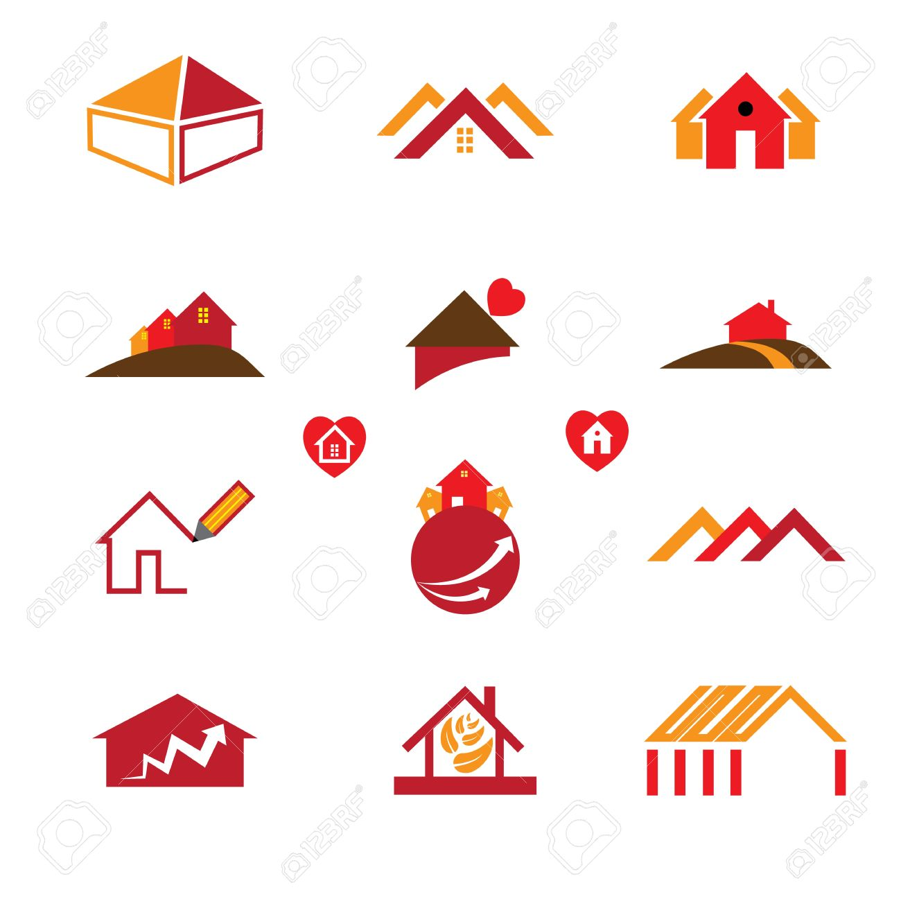 House And Office Logo Icons For Real Estate Business Requirements ...