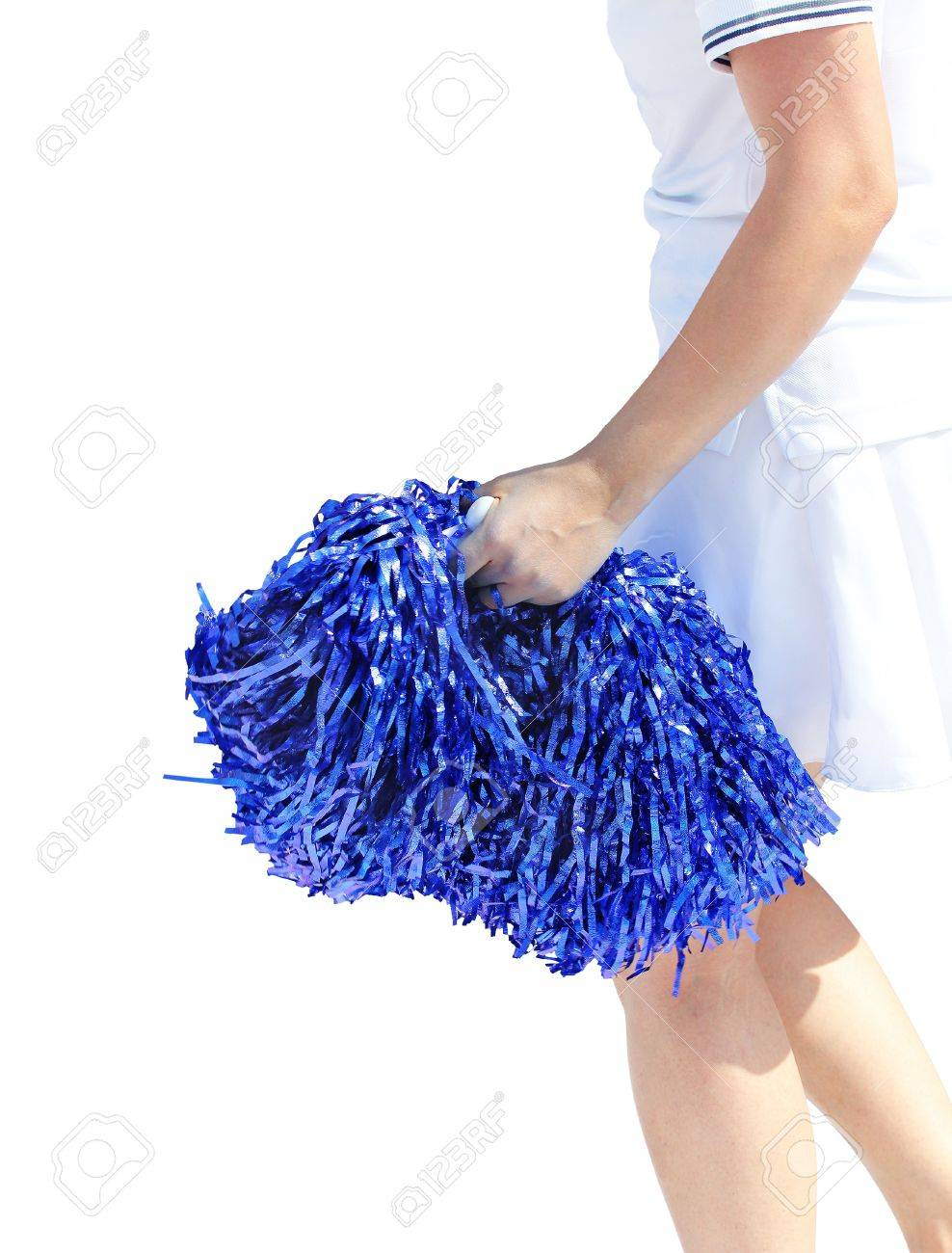 A Young Cheerleading Girl Violet Colored Pom Pon Isolated On White Stock Photo 13863946