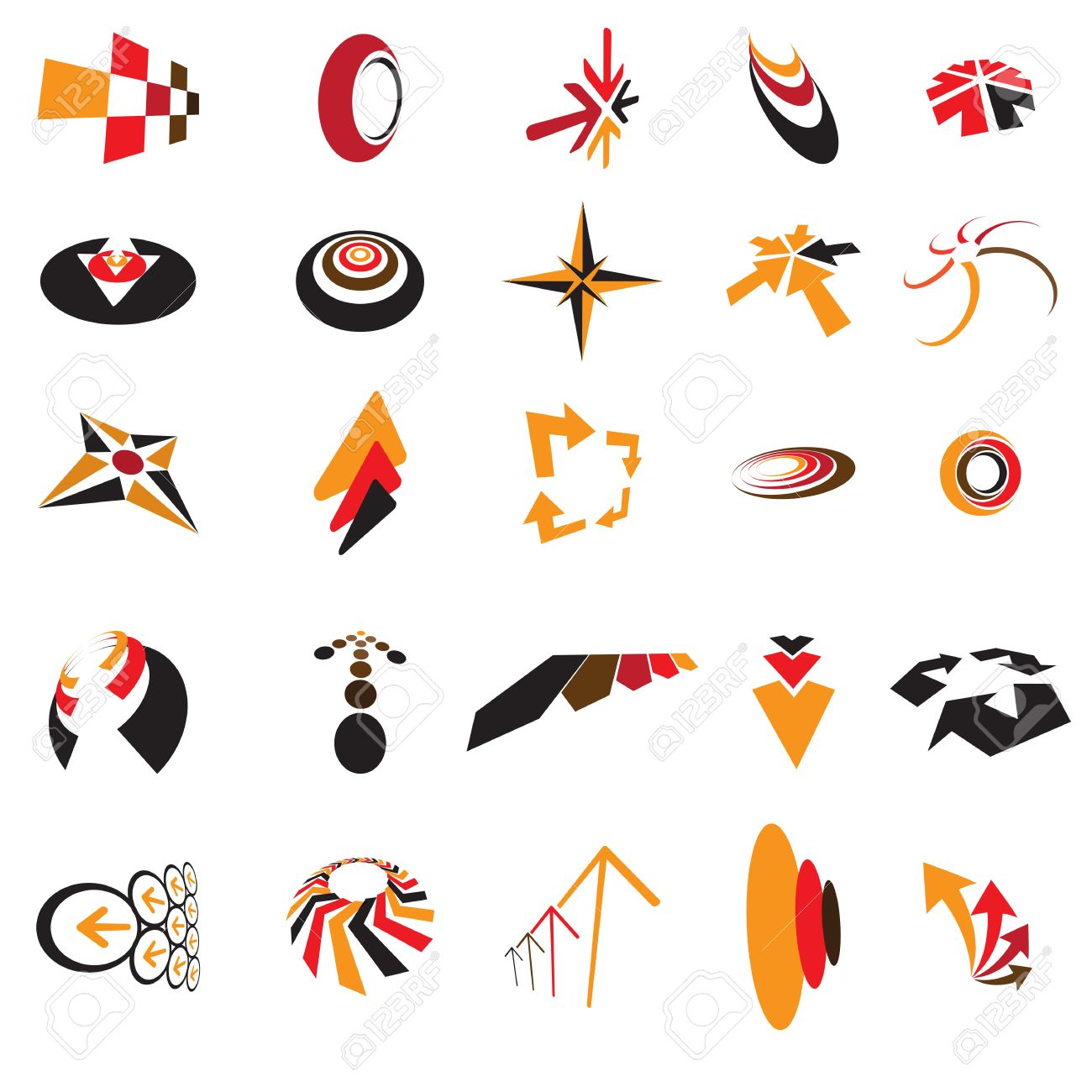 Collection of colorful business identity and brand logo icons created using arrows, direction symbols and signs, circles, curves, etc. These generic icons can be used in business cards, letter head. Stock Vector - 14194341