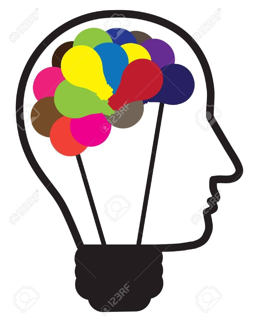 Illustration Of Idea Light Bulb As Human Head Creating Ideas Shown By Multicolor Bulbs In Shape