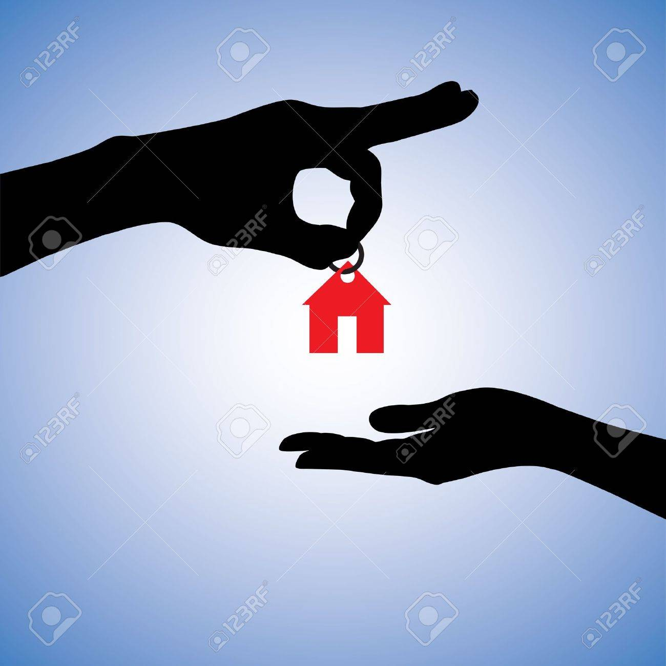 Concept illustration of selling or gifting house in real estate market. The hand holding a red house key chain is the seller or the owner and the arm receiving the house key is the buyer or purchaser. Stock Vector - 14715683