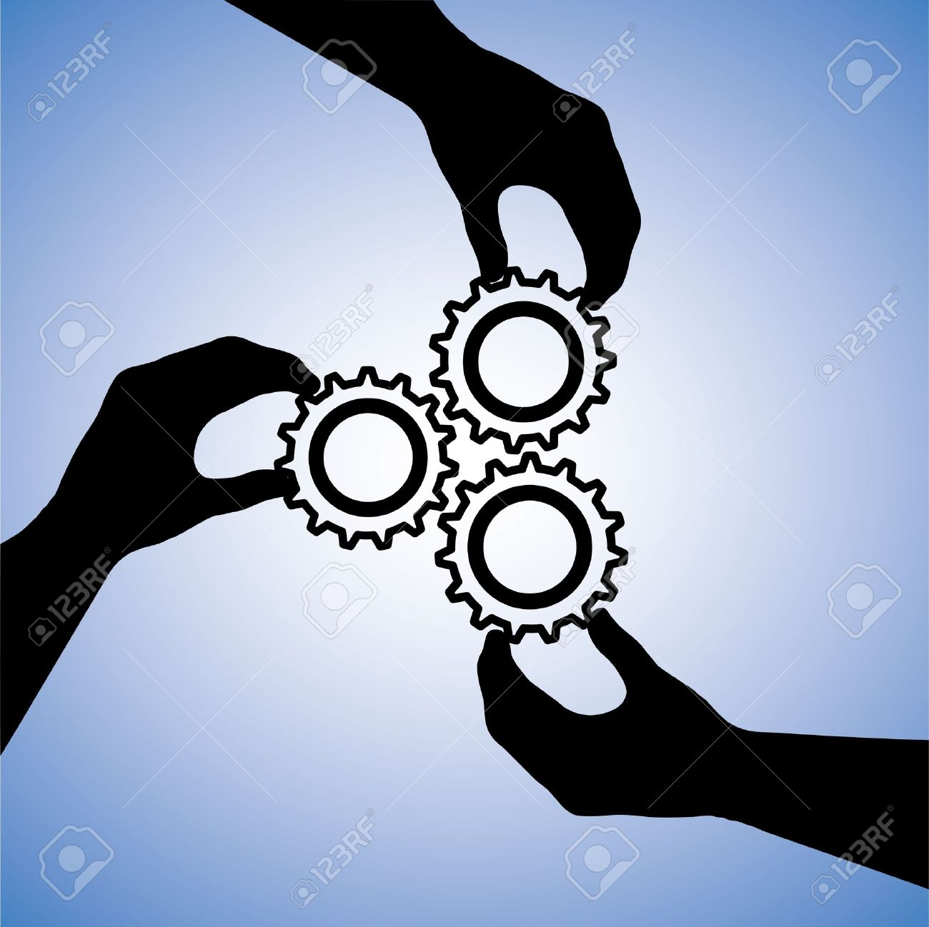 Concept illustration of teamwork and people co-operating for team success. The graphic includes hand silhouettes holding cogwheels together indicating collaboration and joining hands for success Stock Vector - 15577494