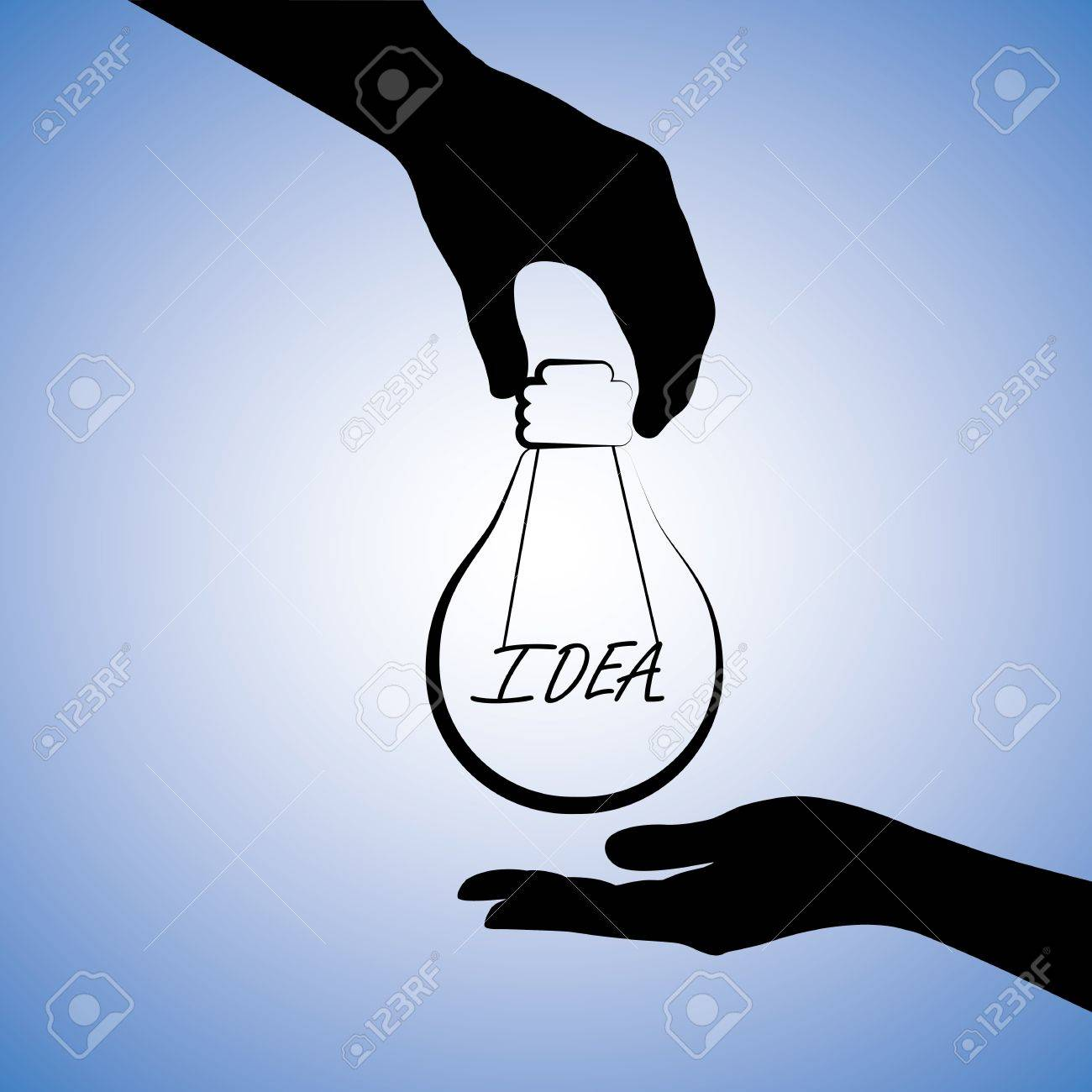 Concept illustration of one person providing idea to the other. The graphic uses a light bulb with filament replaced with word idea to convey the concept of problem solving or finding solution Stock Vector - 15702854