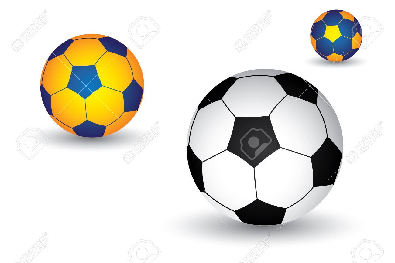 Illustration of soccer football  ball in black and white as well as yellow and blue colors  The balls graphic has shadow and is on white background Stock Vector - 15743961