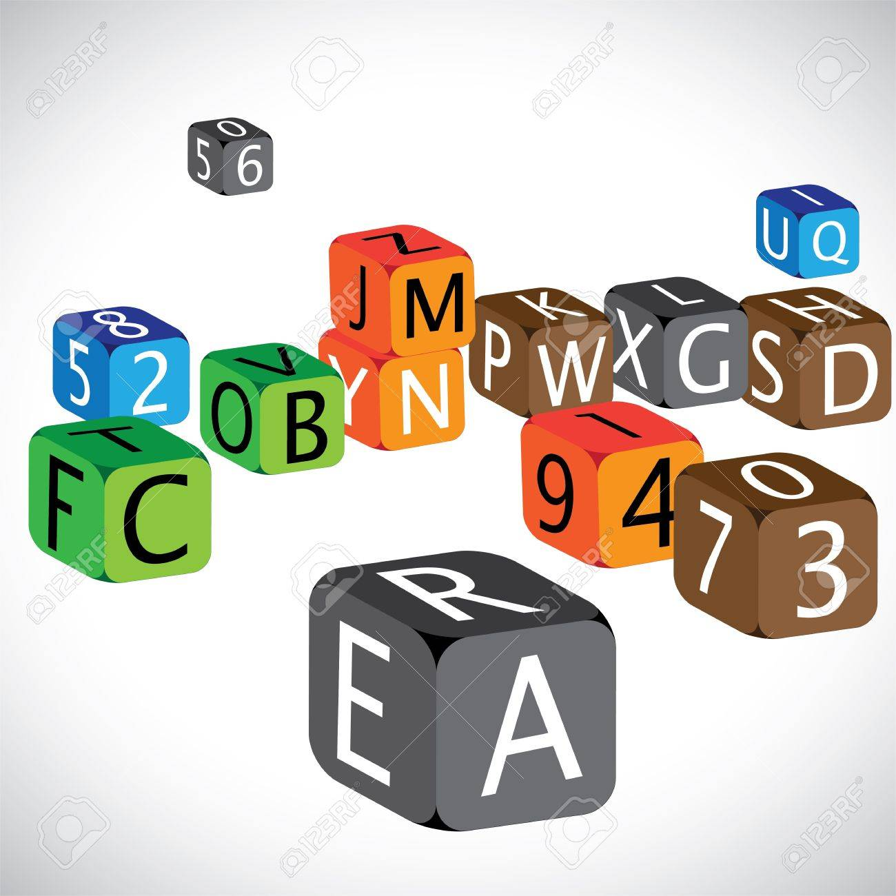 Illustration of colorful cubes of alphabets and numbers. The cubes are made of english language characters and numerals in capital case which are used to teach children Stock Vector - 16482523