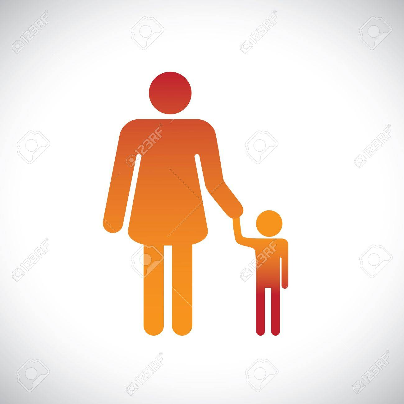 Concept illustration of mother & son together. This graphic represents the bonding between a parent and child with the mother holding the hand of her son Stock Vector - 16609063