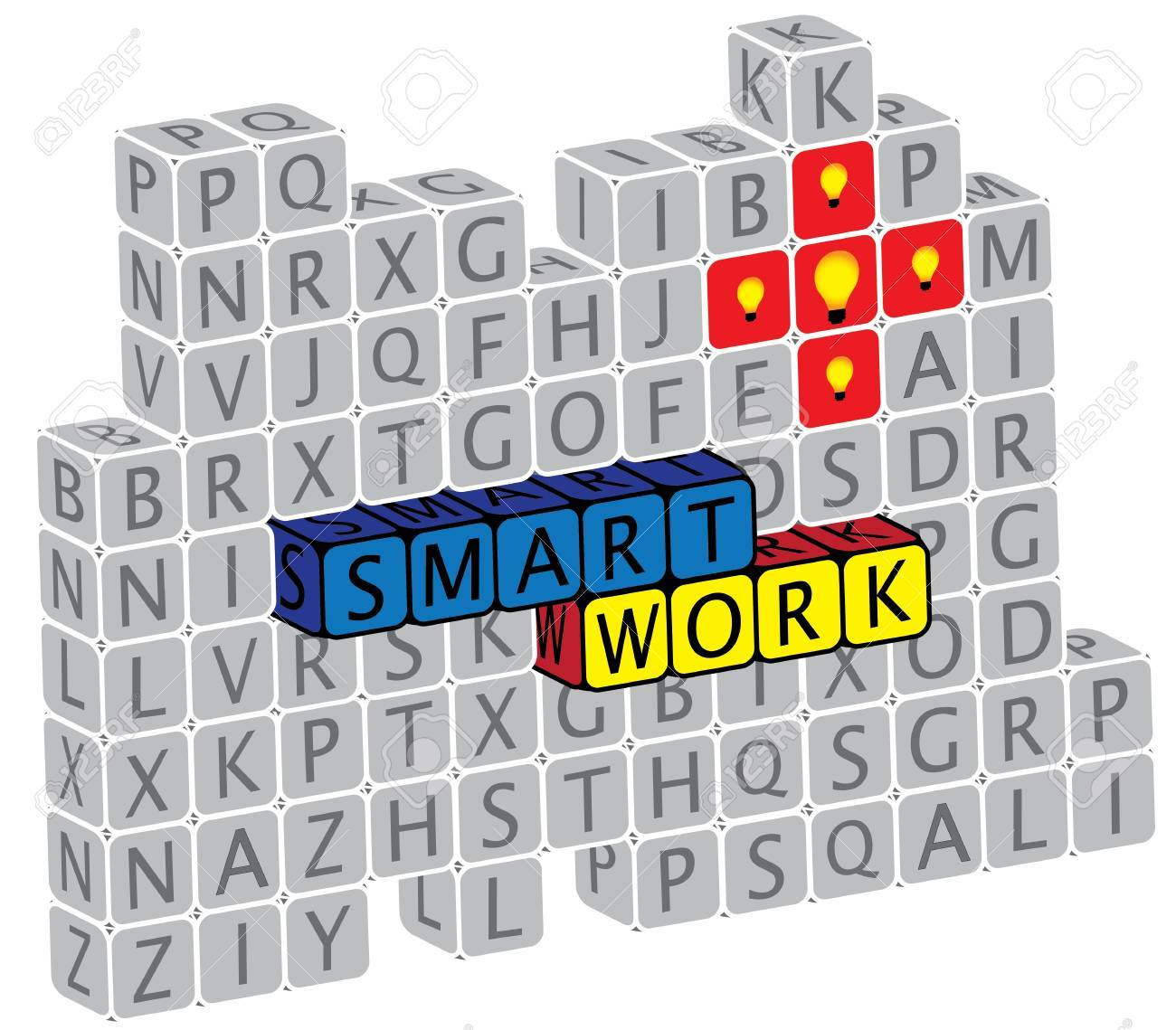 Illustration of word smartwork using alphabet(text) cubes. The graphic can represent concepts like creativity, innovation, problem solving, etc. Stock Vector - 16747546