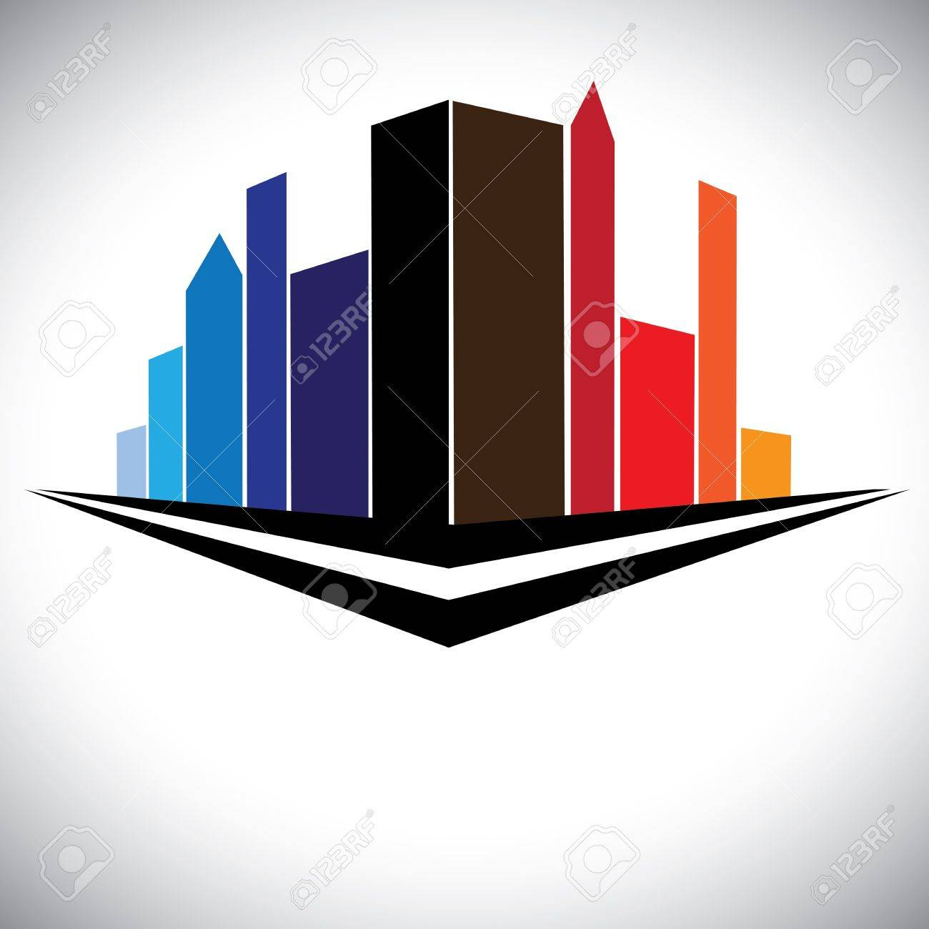 colorful buildings of cityscape urban setting with tall skyscrapers, towers and street in red, orange, brown, blue and purple colors Stock Vector - 17040870