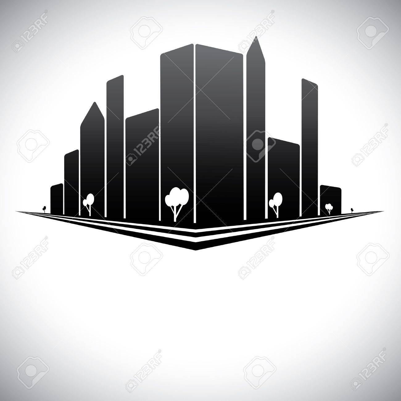 Downtown buildings in b &amp, w of modern city skyline with skyscrapers, trees,  tall towers and streets in shades of black, white and grey Stock Vector - 17071538