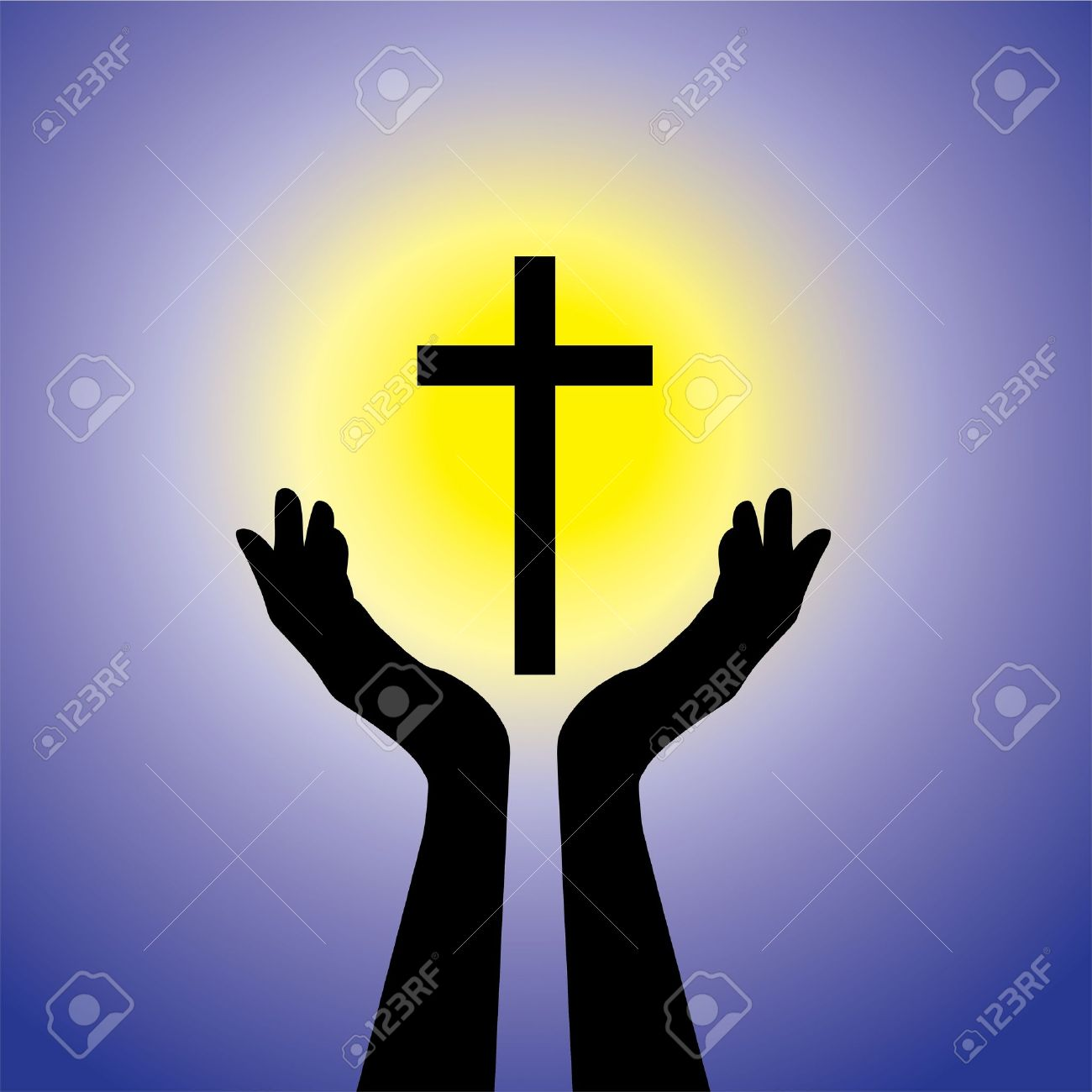 祈りまたは十字架やイエス 聖なる cross christ 青い背景と黄色の太陽