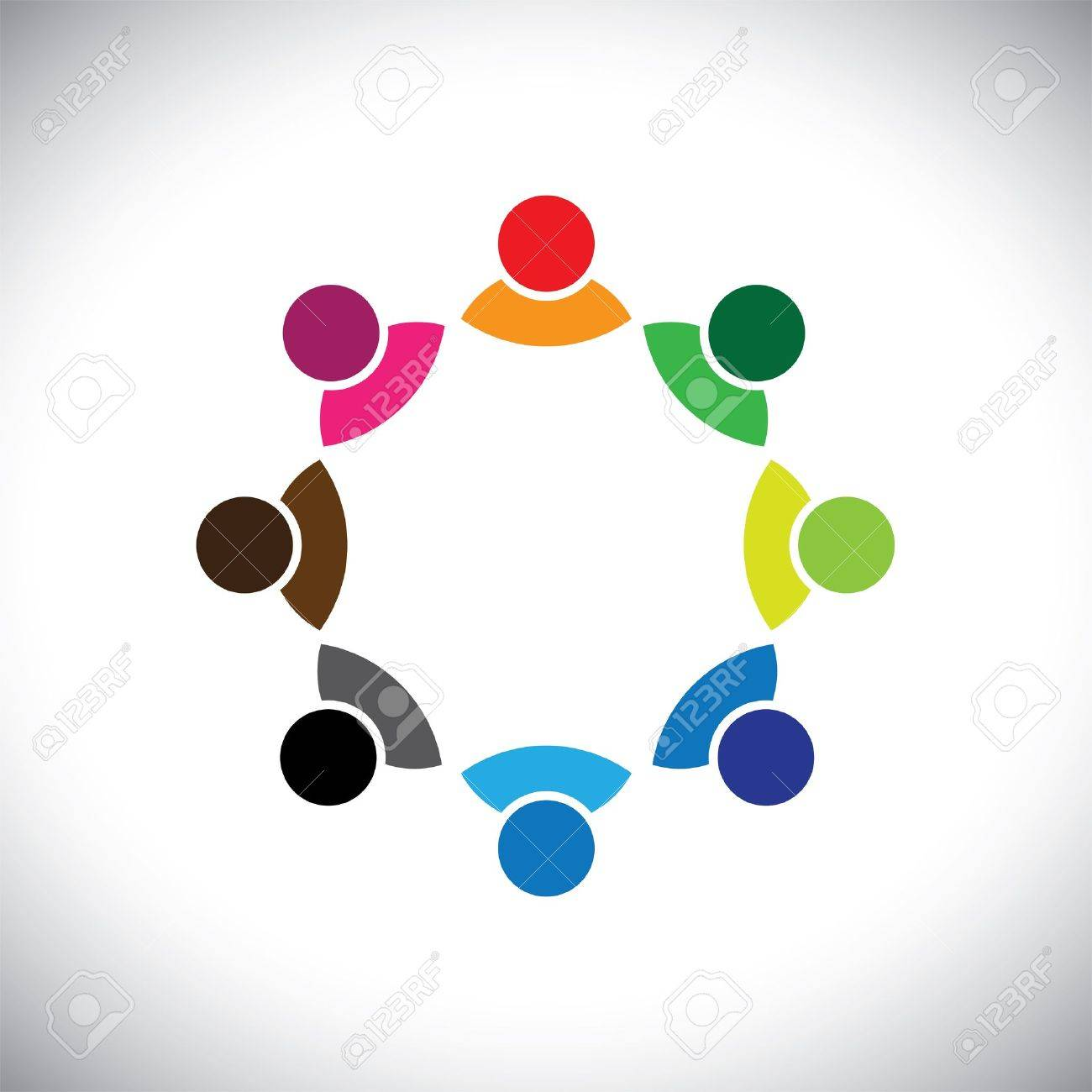 Colorful multi-ethnic corporate executive team or employee group. This vector graphic can also represent concept of children playing together or team meeting or group discussion, etc - 19377021