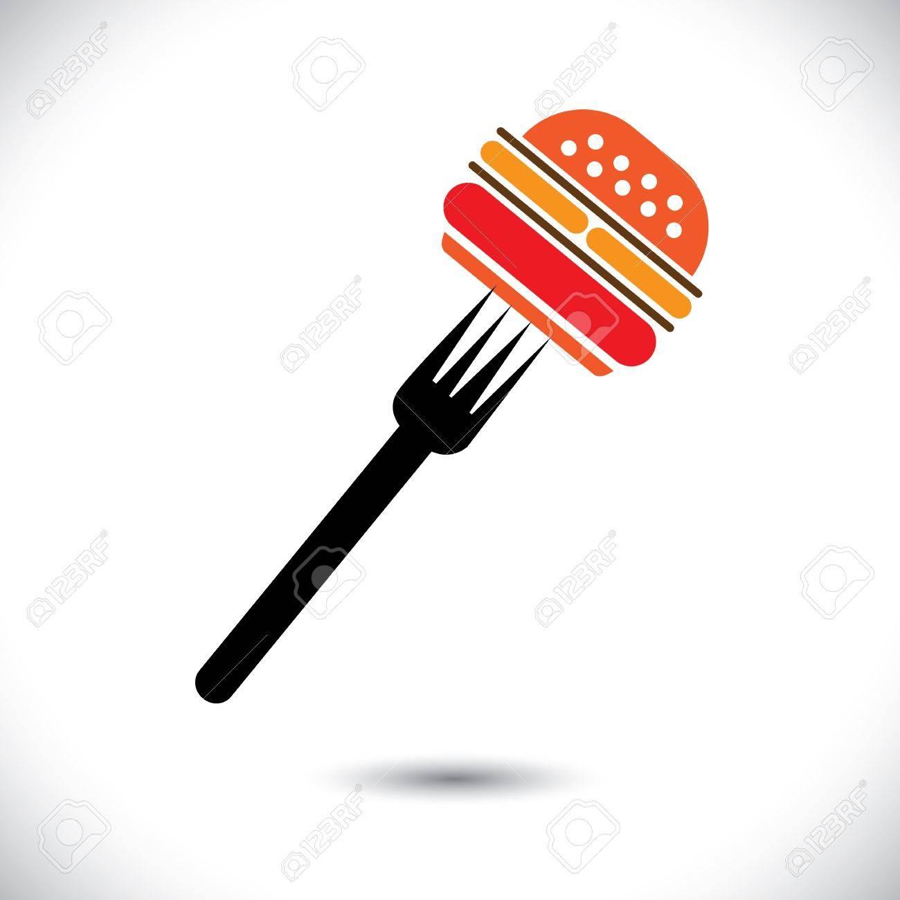 burger & fork illustration Stock Vector - 19688220