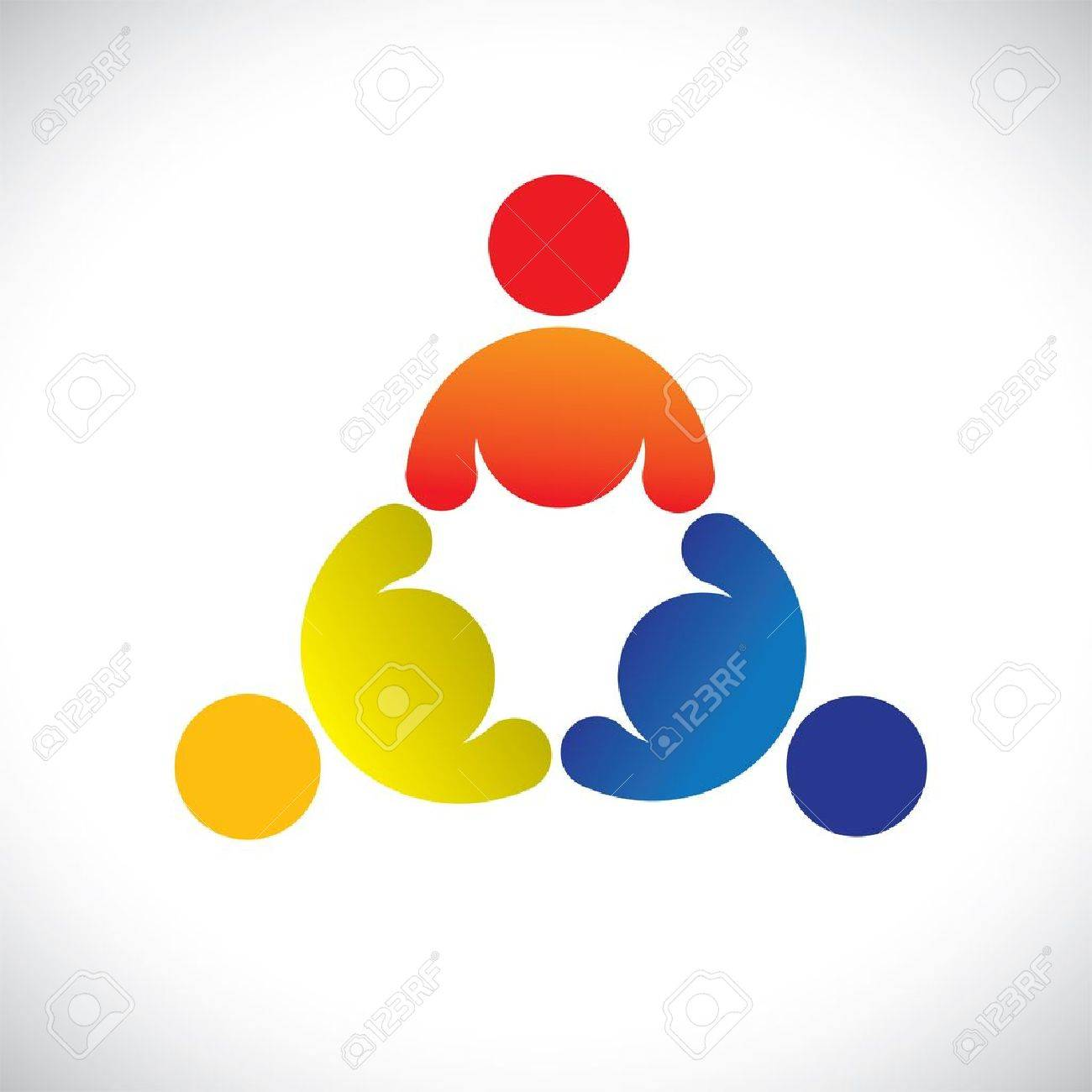 Concept graphic- colorful threesome children playing icons(signs). The  illustration represents concepts