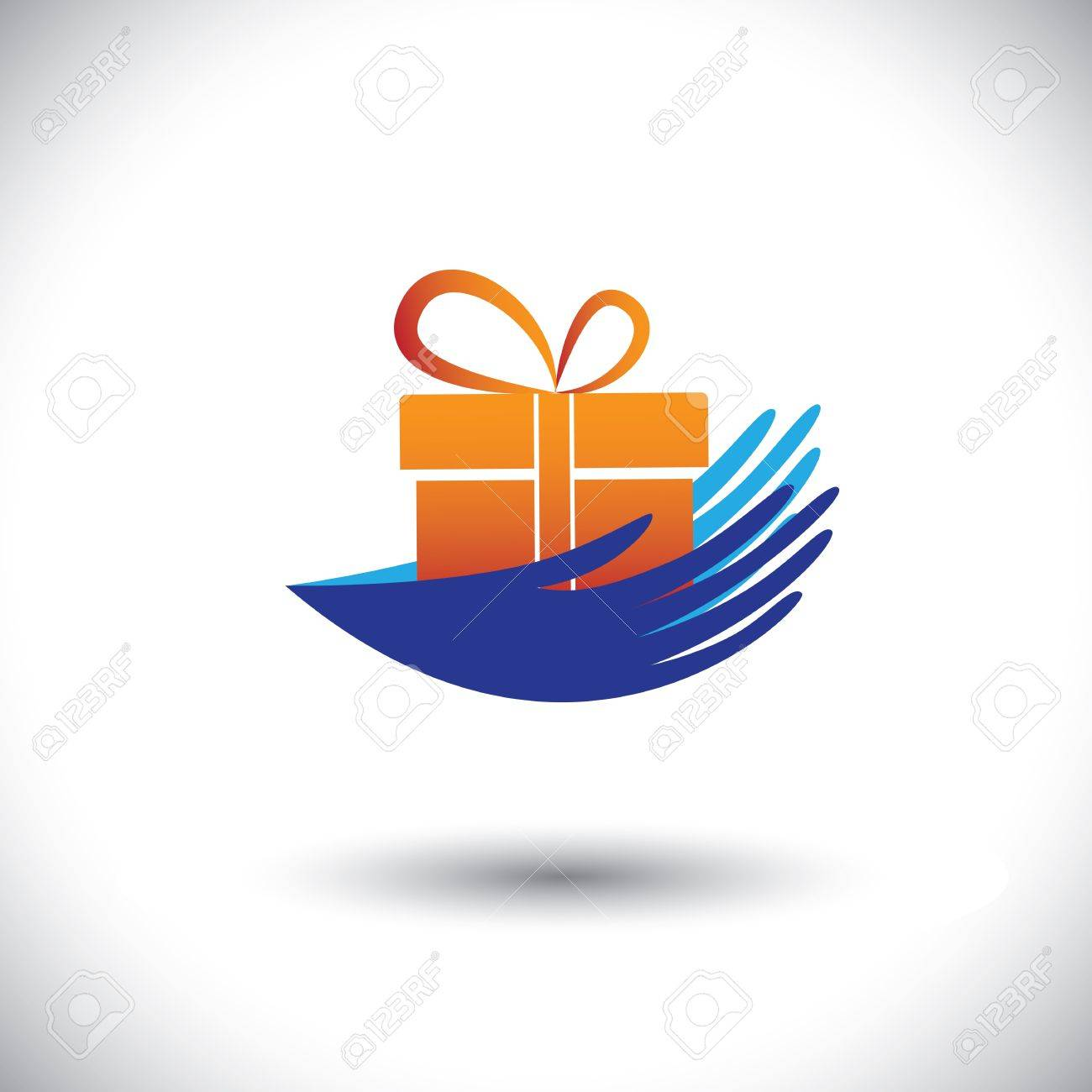 Concept  graphic- woman's hands with gift icon(symbol). The illustration can represent concepts like getting bonus, presents, employment offers, surprise benefits & also giving to charity, etc Stock Vector - 20353055
