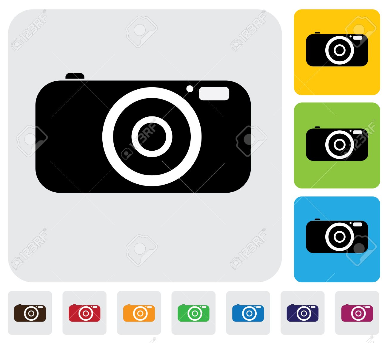 digital camera or point and shoot camera- simple graphic  The illustration has simple colorful icons on green,orange   blue backgrounds   is useful for websites,blogs,documents,printing,etc Stock Vector - 20611990