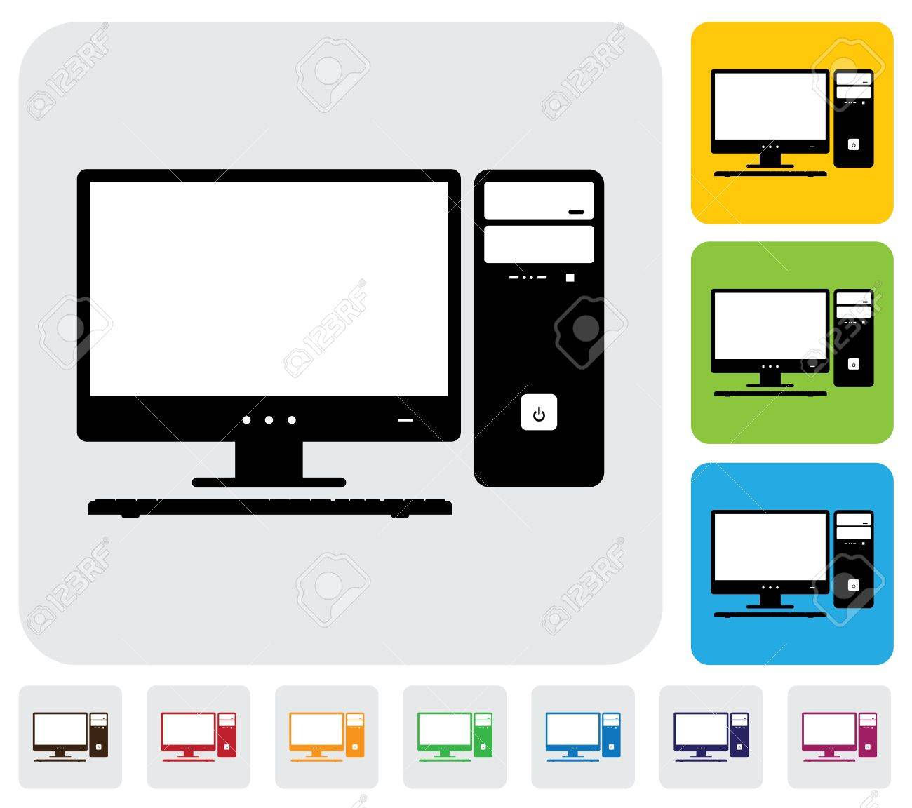 Desktop computer screen, CPU and keyboard- simple graphic  The illustration has simple colorful icons on green,orange   blue backgrounds   is useful for websites,blogs,documents,printing,etc Stock Vector - 20612032