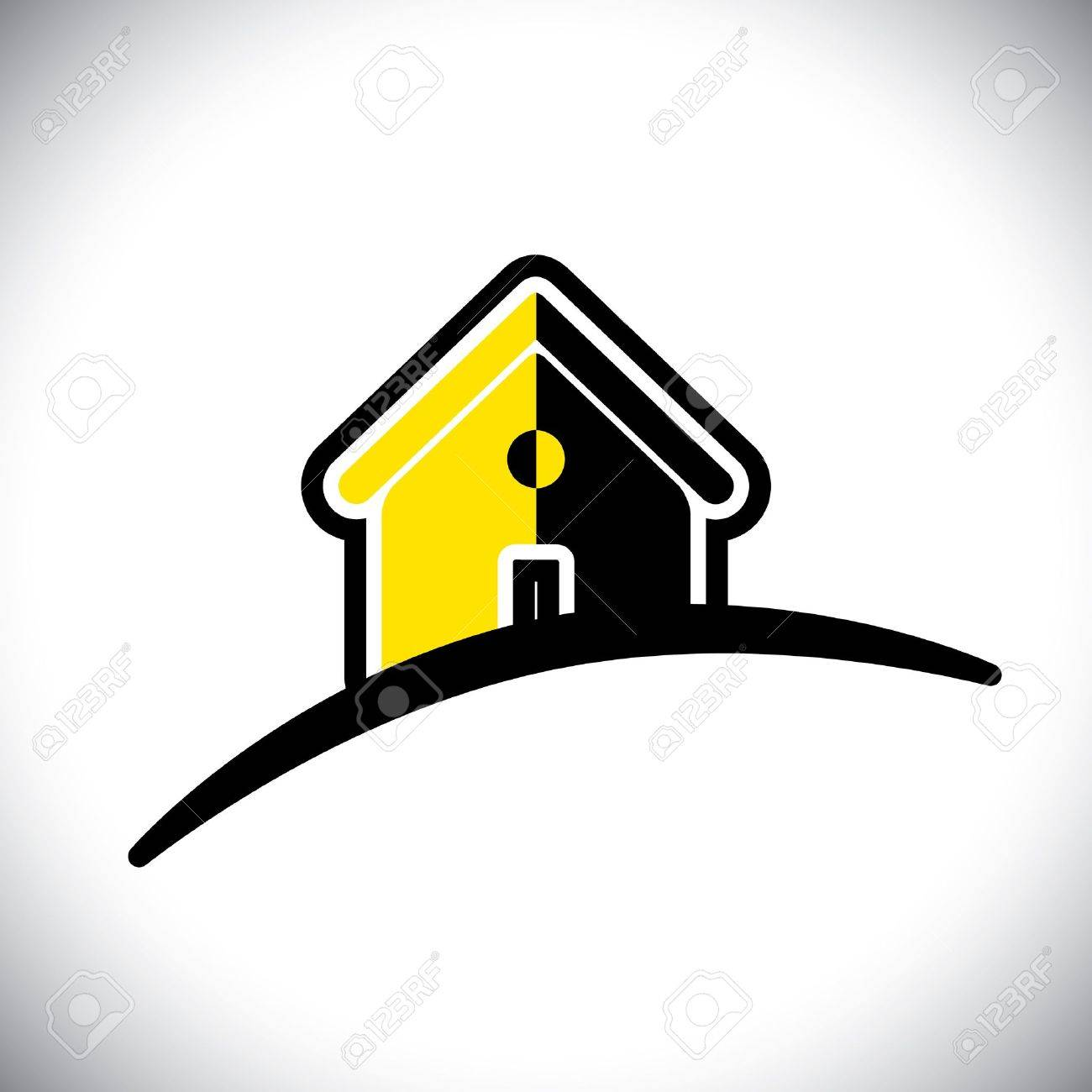 abstract residential house(home) icon(symbol)- graphic. This illustration can also represent construction industry, realty business of buying and selling property, etc Stock Vector - 20787205