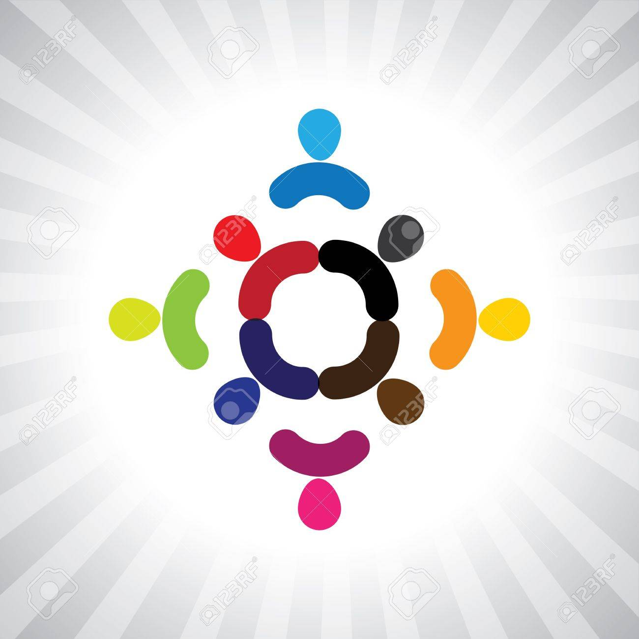 abstract colorful children playing in circle- simple graphic. This illustration can also represent children playing, kids having fun, employee meeting, workers unity & diversity, abstract people Stock Vector - 20787427